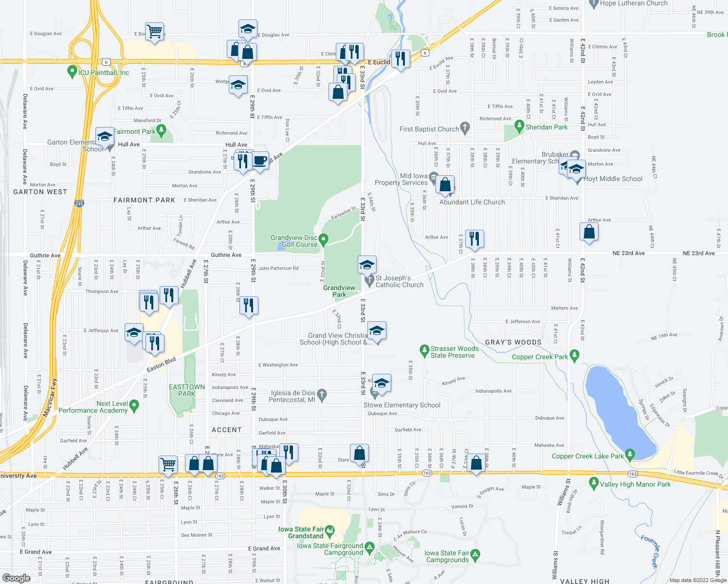 map of restaurants, bars, coffee shops, grocery stores, and more near 2122-2198 East 33rd Street in Des Moines