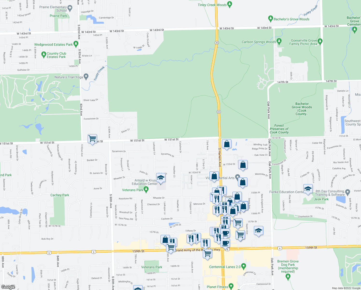 map of restaurants, bars, coffee shops, grocery stores, and more near 15119 Catalina Drive in Orland Park
