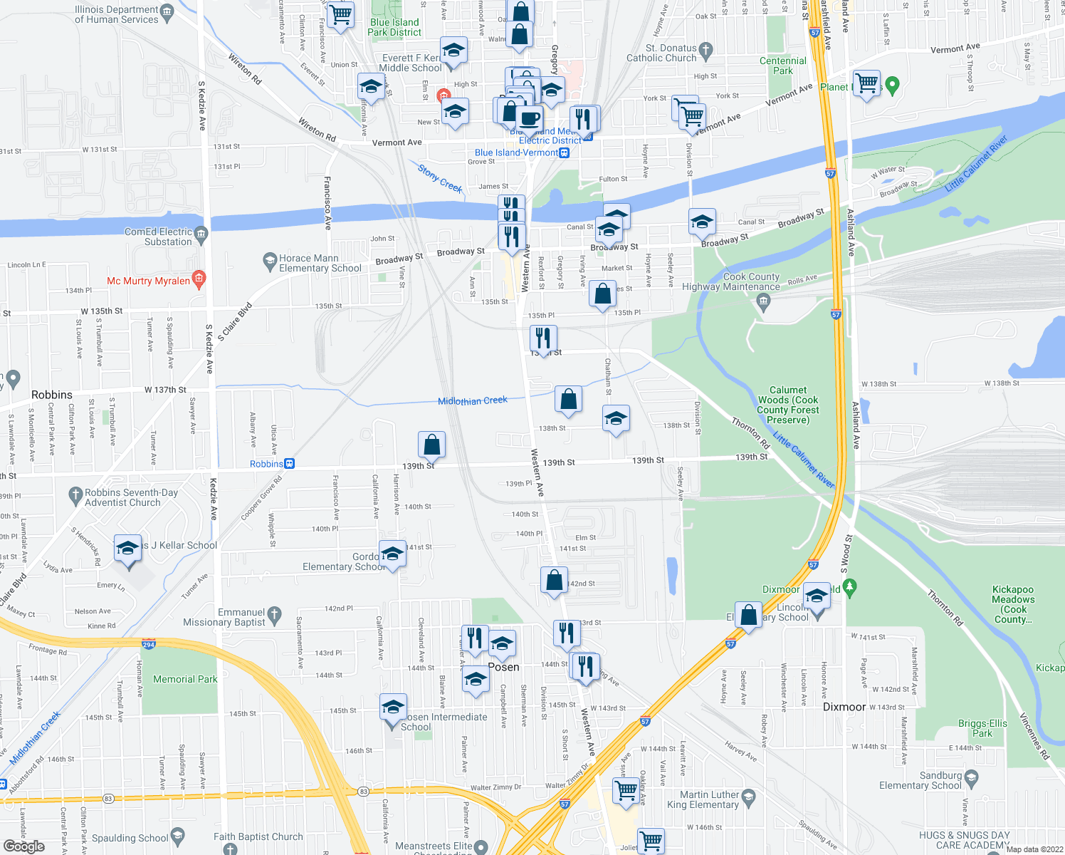 map of restaurants, bars, coffee shops, grocery stores, and more near 13749 S Western Ave in Blue Island