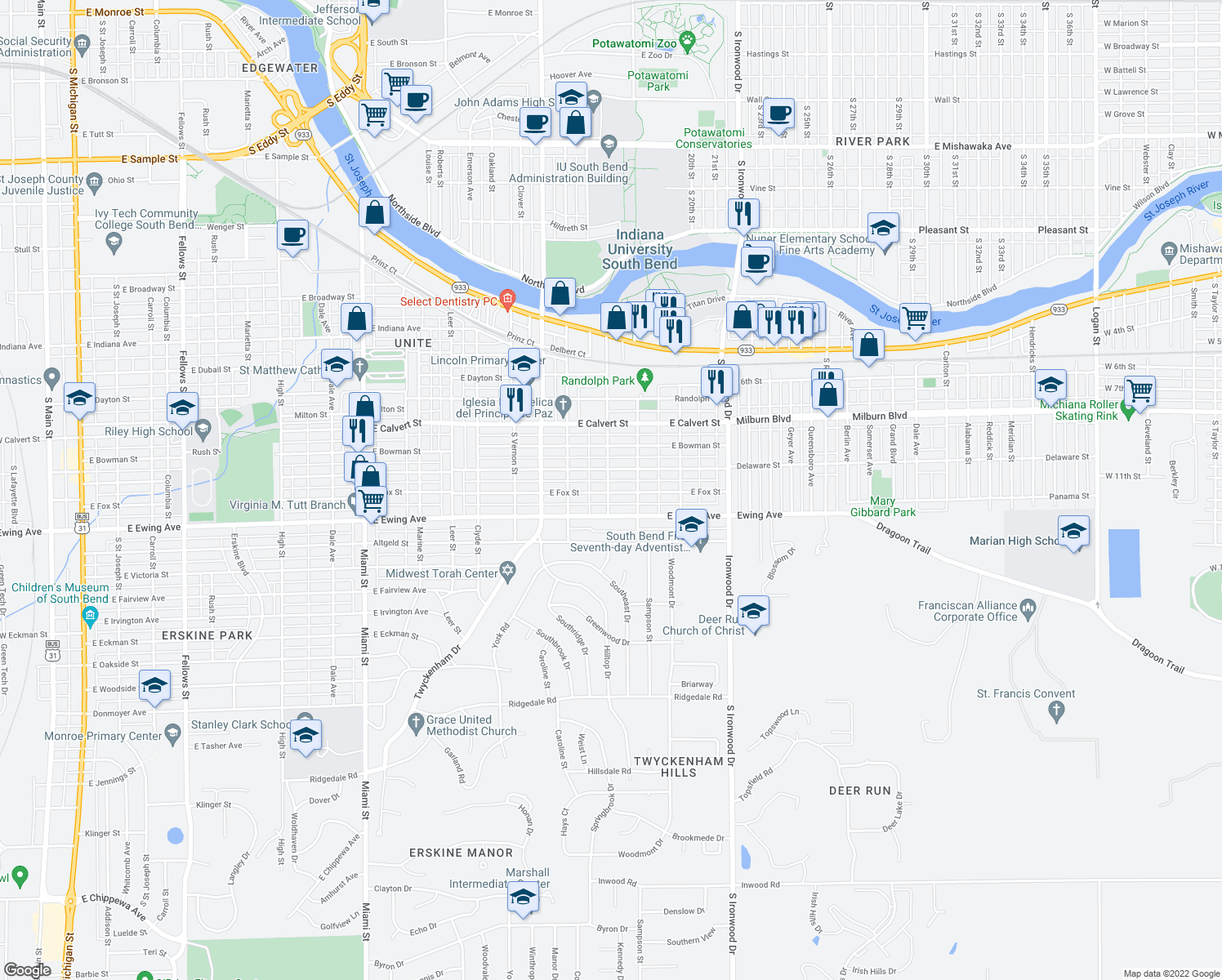 map of restaurants, bars, coffee shops, grocery stores, and more near 1701 Fox St in South Bend