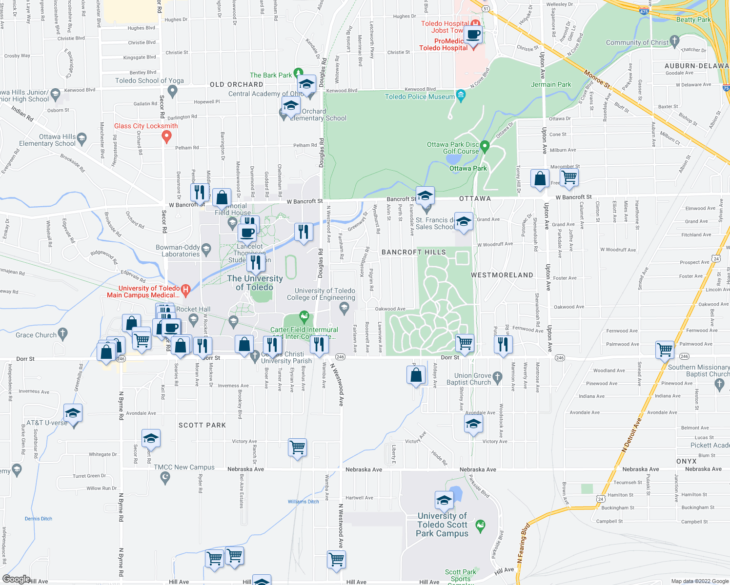 map of restaurants, bars, coffee shops, grocery stores, and more near 1736 Kensington Rd in Toledo