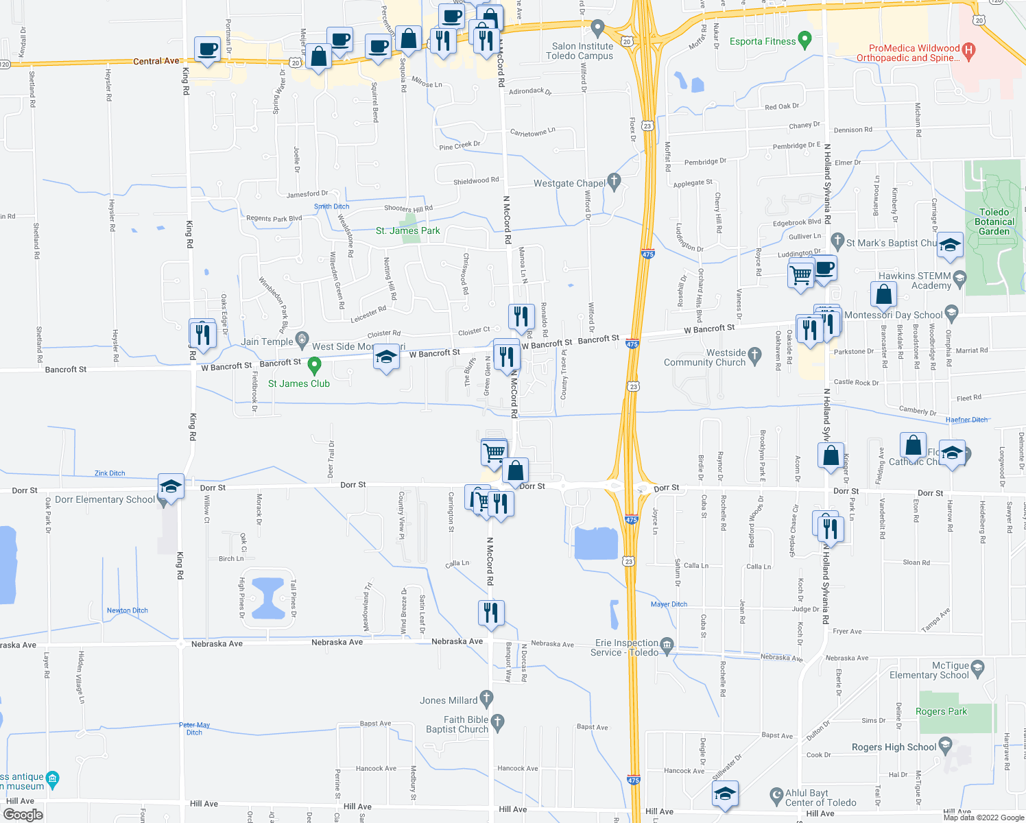 map of restaurants, bars, coffee shops, grocery stores, and more near 2110-2124 North McCord Road in Toledo