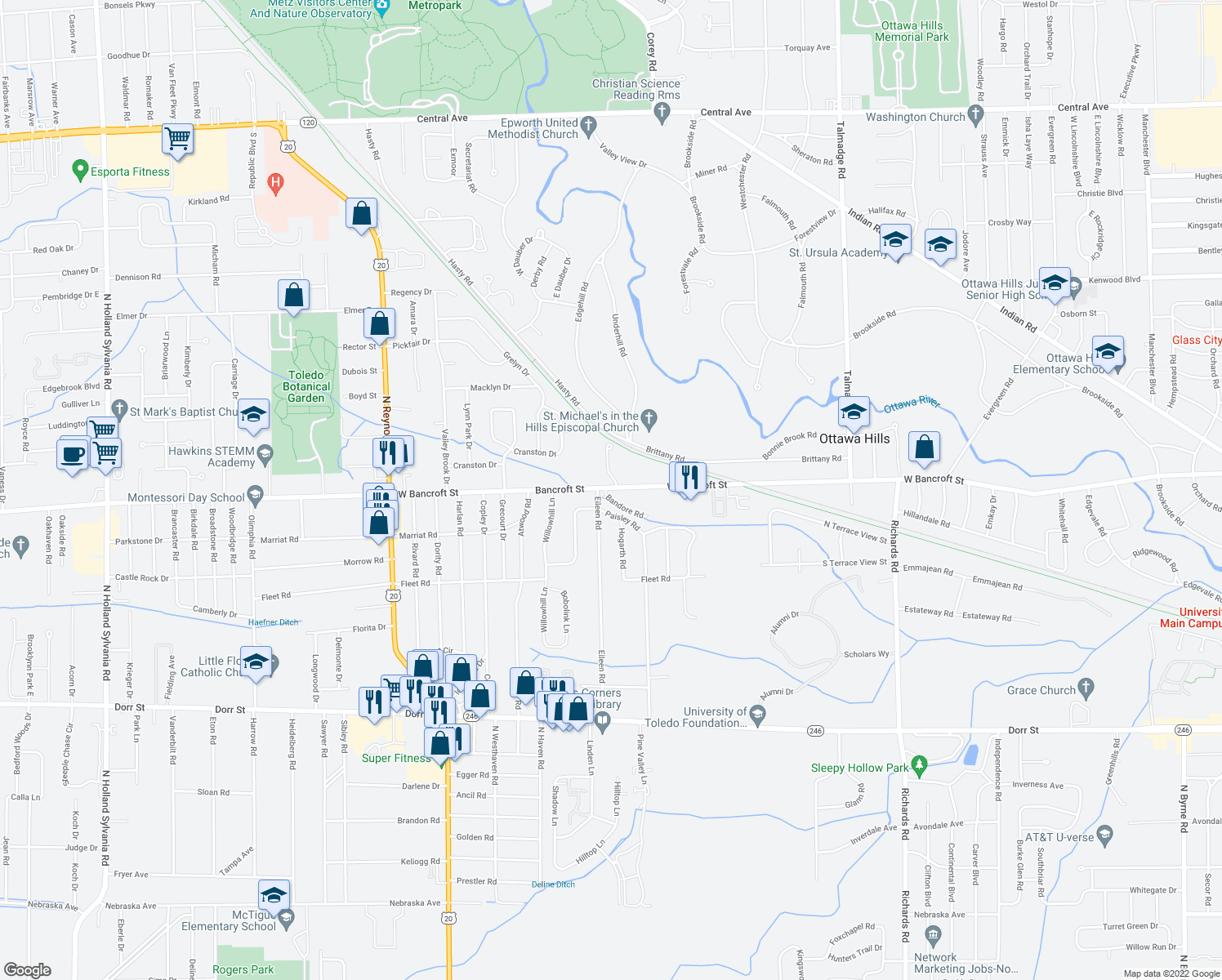 map of restaurants, bars, coffee shops, grocery stores, and more near 4824 West Bancroft Street in Toledo