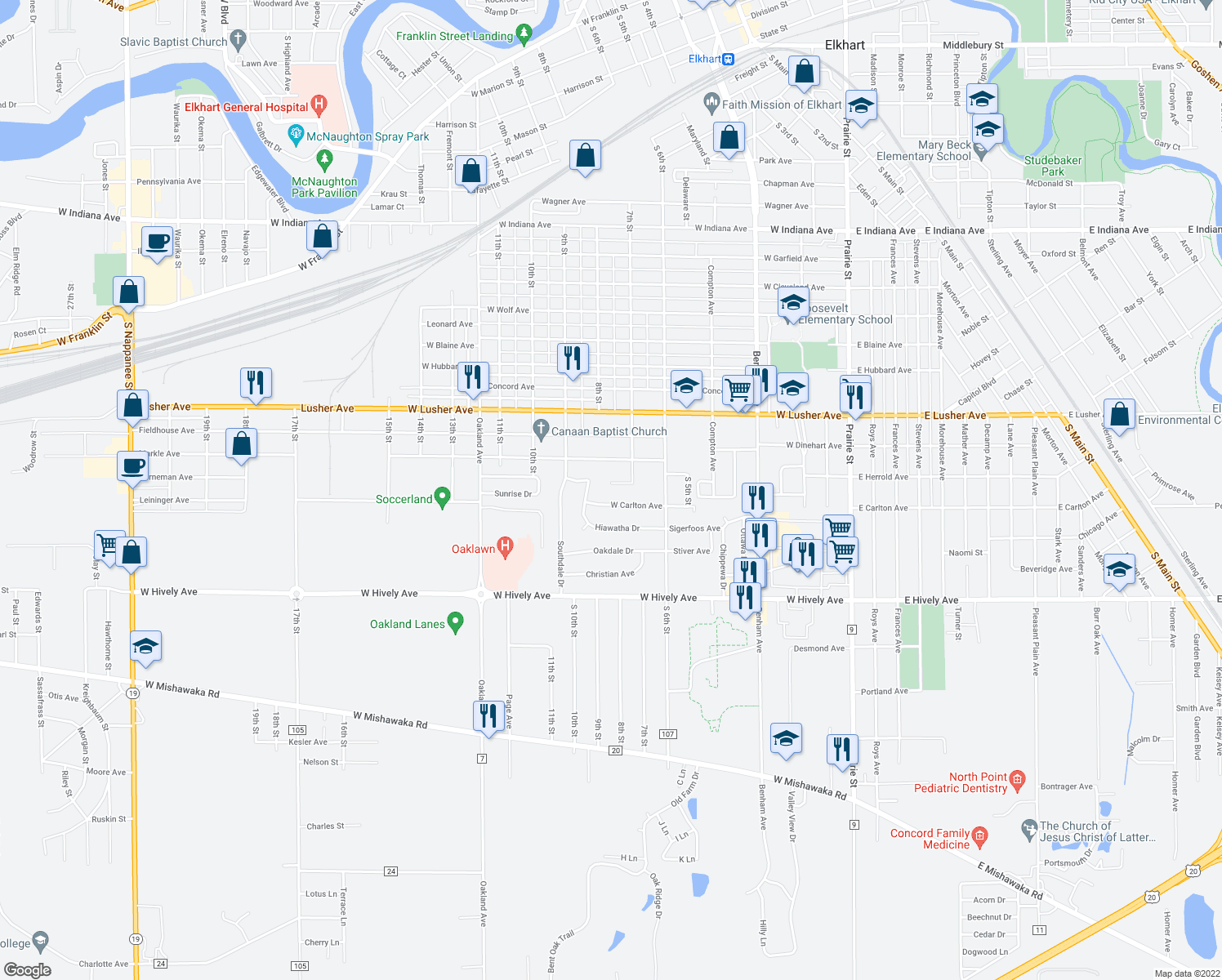 map of restaurants, bars, coffee shops, grocery stores, and more near 733 Hope Street in Elkhart