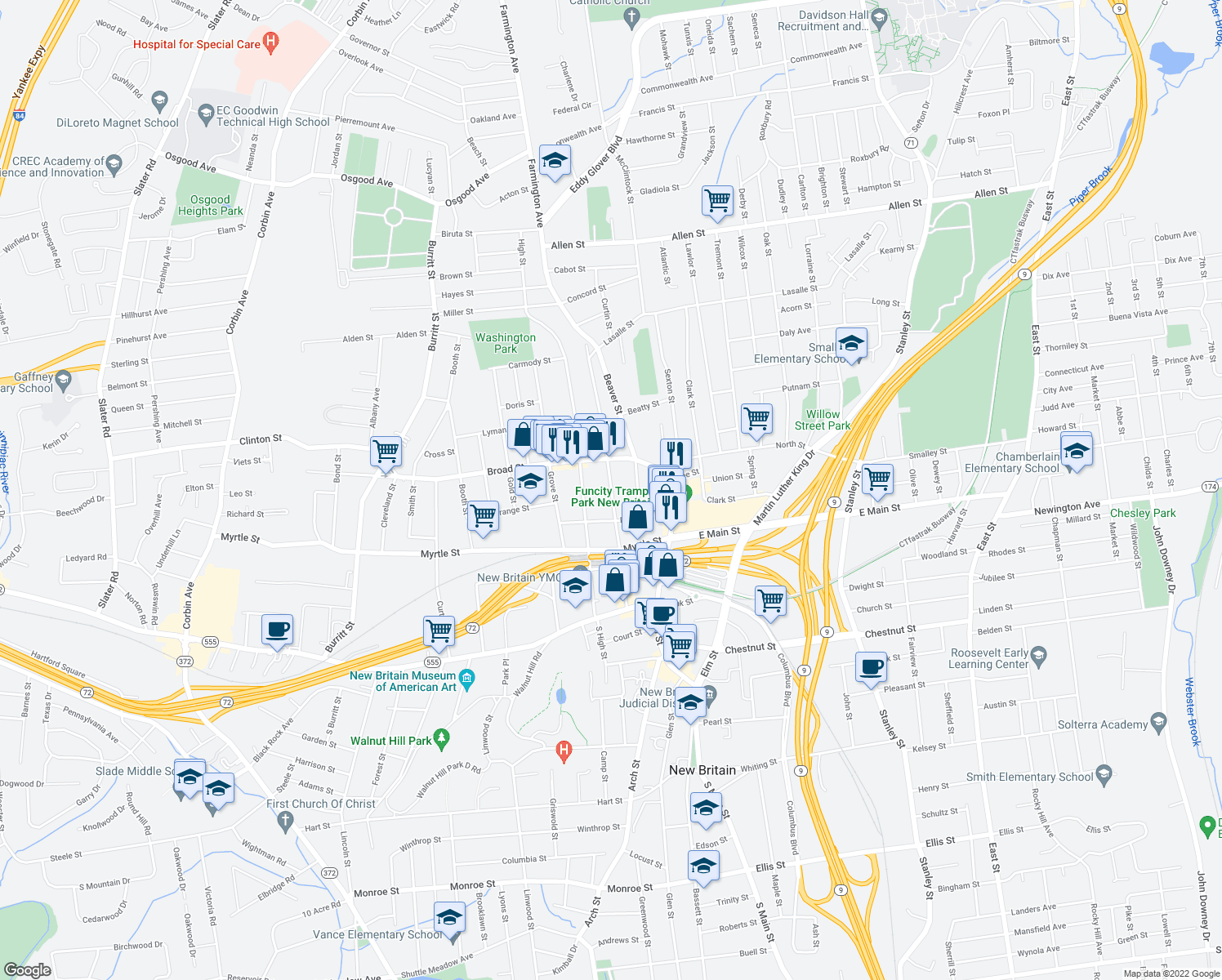 map of restaurants, bars, coffee shops, grocery stores, and more near 164 Washington Street in New Britain