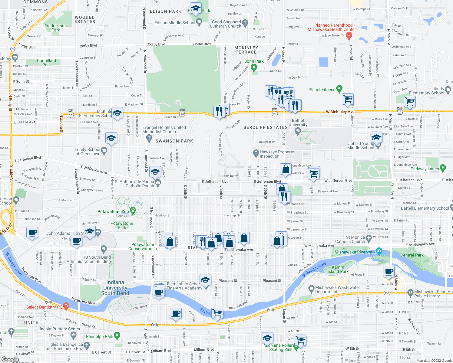 map of restaurants, bars, coffee shops, grocery stores, and more near 3014 East Jefferson Boulevard in South Bend