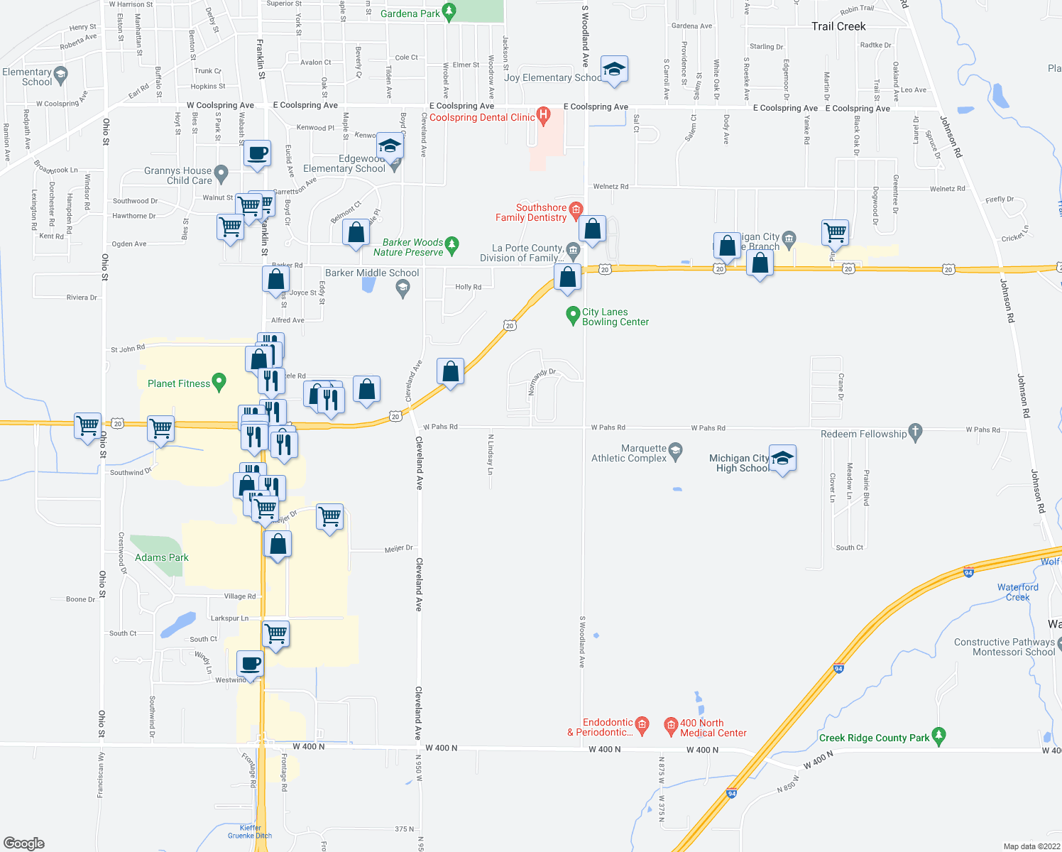 map of restaurants, bars, coffee shops, grocery stores, and more near 9199-9319 West Pahs Road in Michigan City