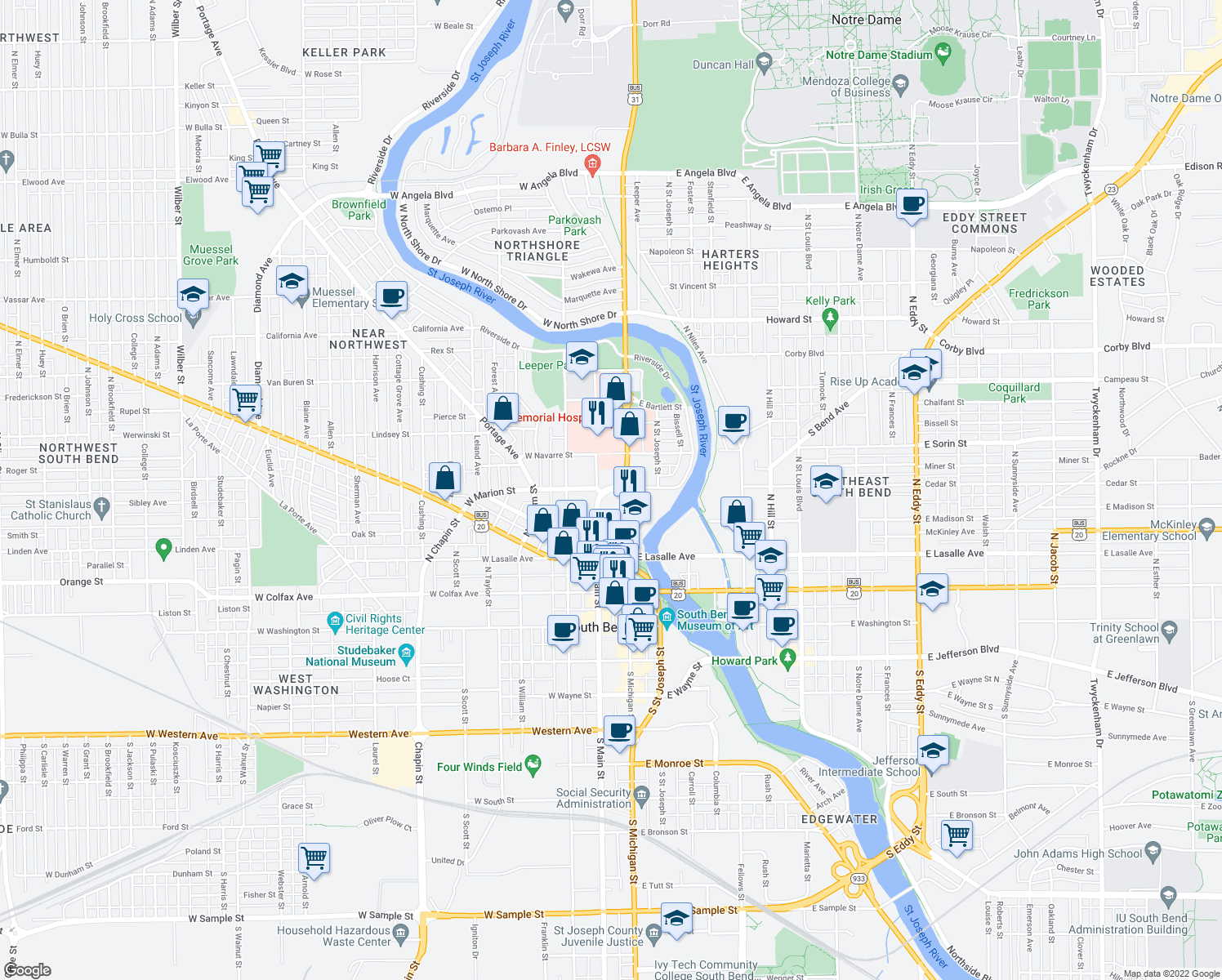 map of restaurants, bars, coffee shops, grocery stores, and more near 119 West Marion Street in South Bend