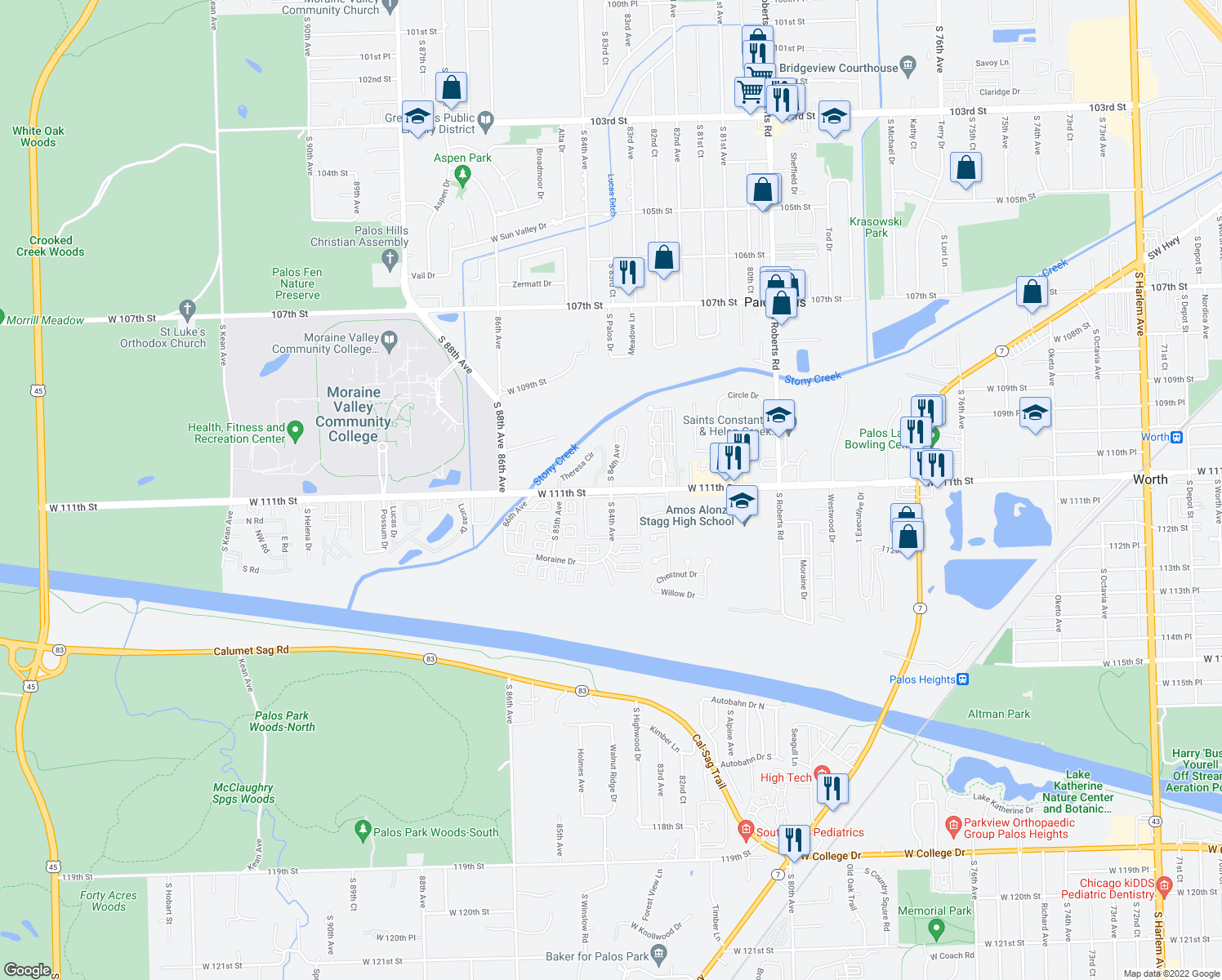 map of restaurants, bars, coffee shops, grocery stores, and more near W 111th St & S 84th Ave in Palos Hills