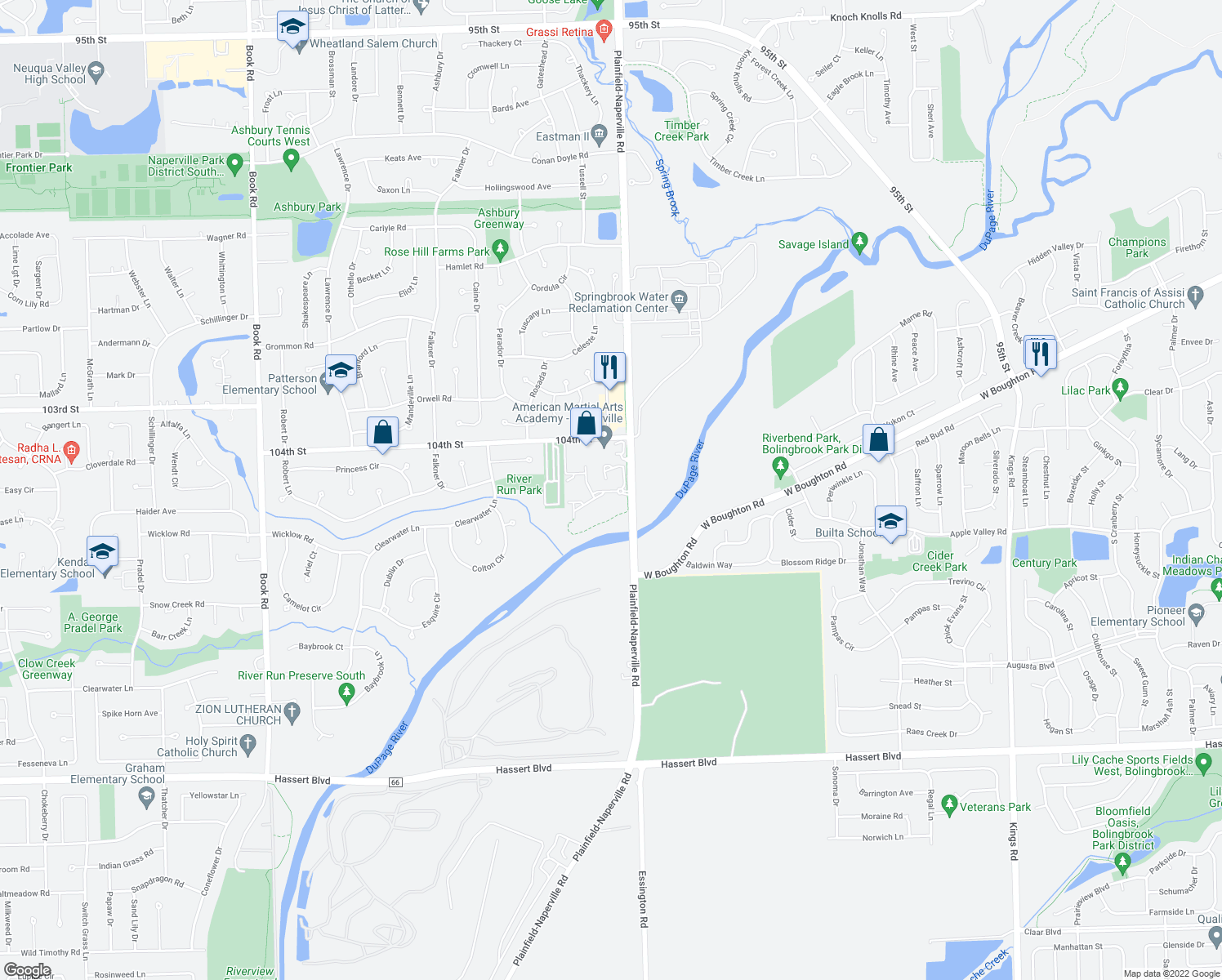 map of restaurants, bars, coffee shops, grocery stores, and more near 4200-4298 Shady Trail Court in Naperville