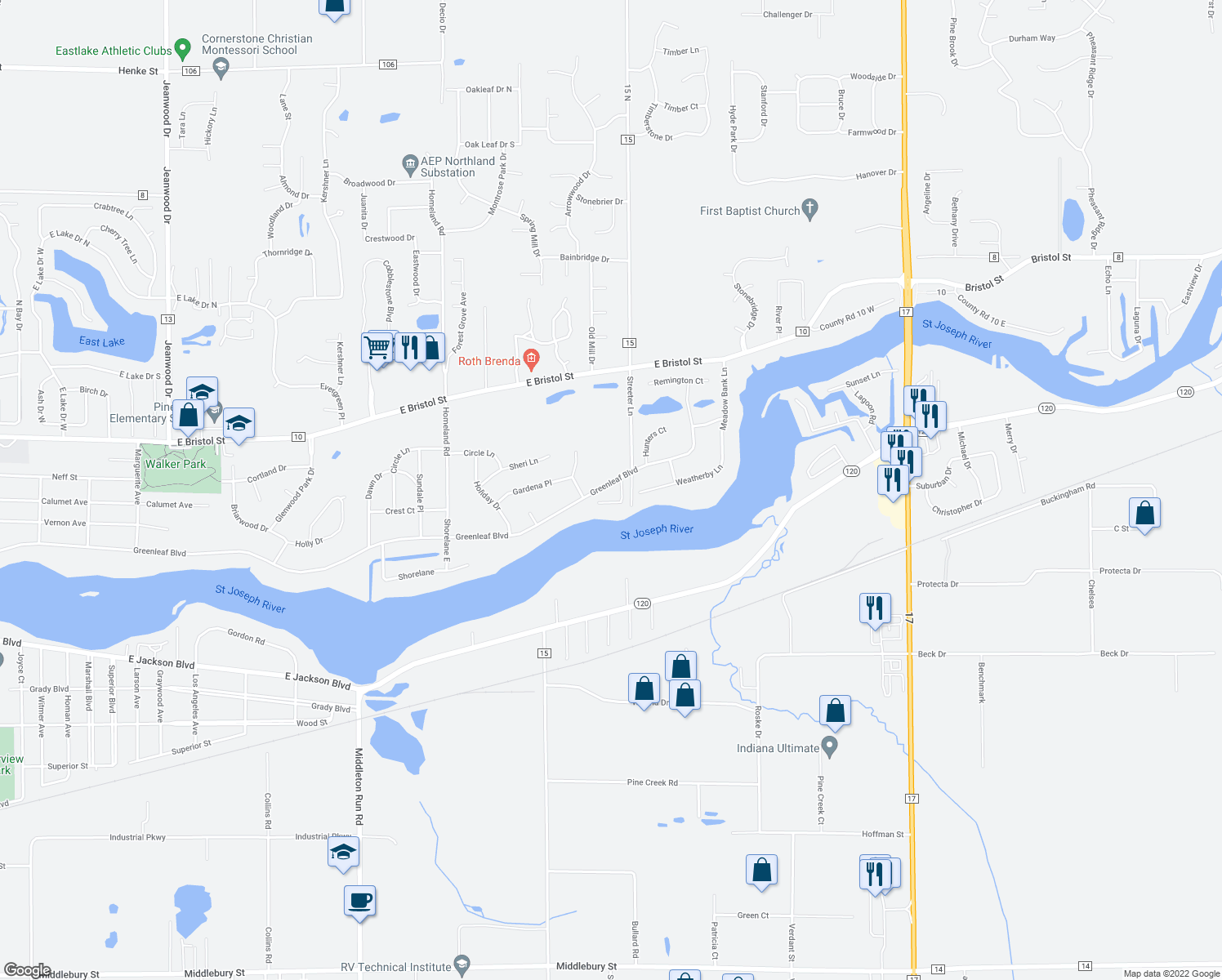 map of restaurants, bars, coffee shops, grocery stores, and more near 22810 Greenleaf Boulevard in Elkhart