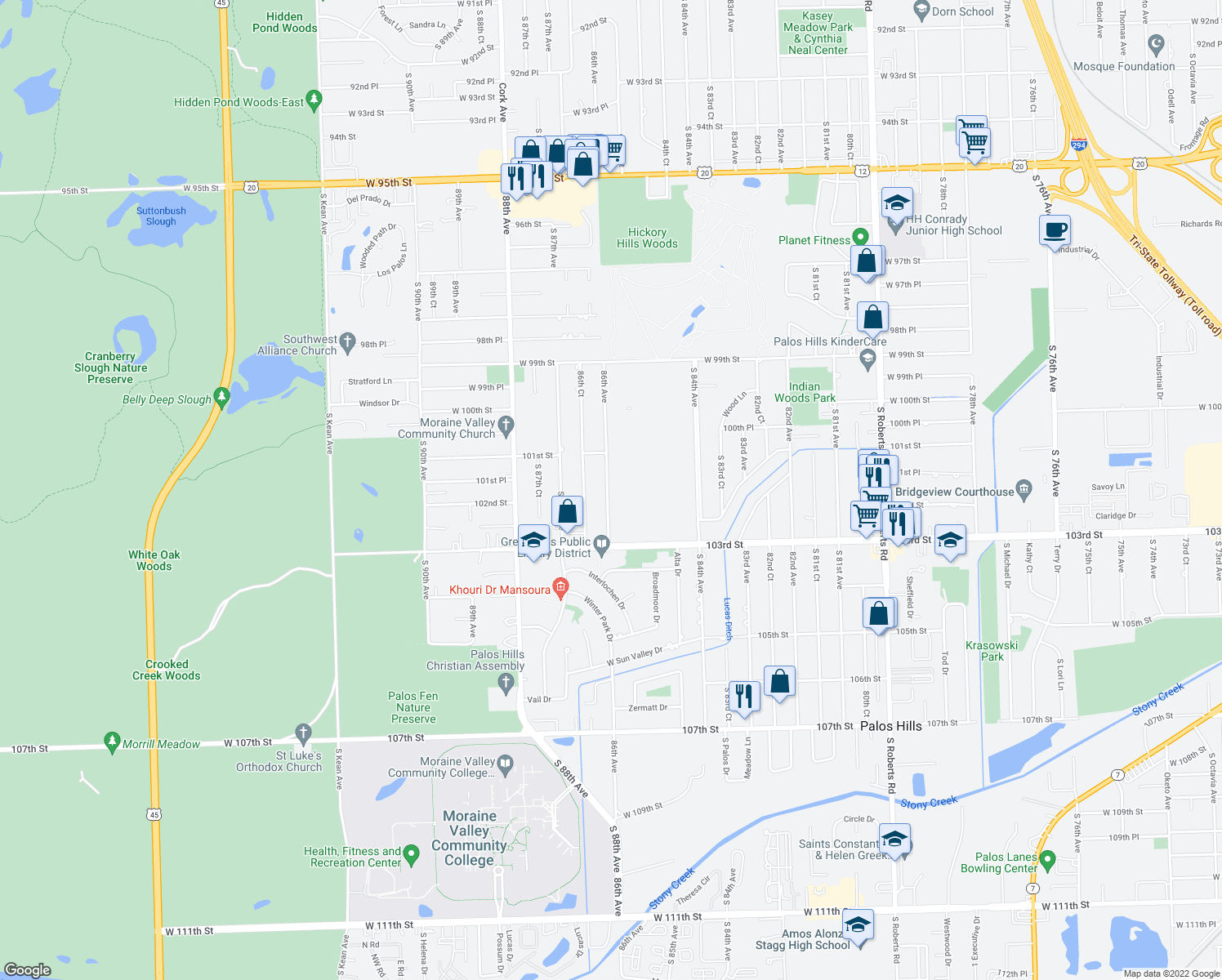 map of restaurants, bars, coffee shops, grocery stores, and more near 8598 102nd Terrace in Palos Hills