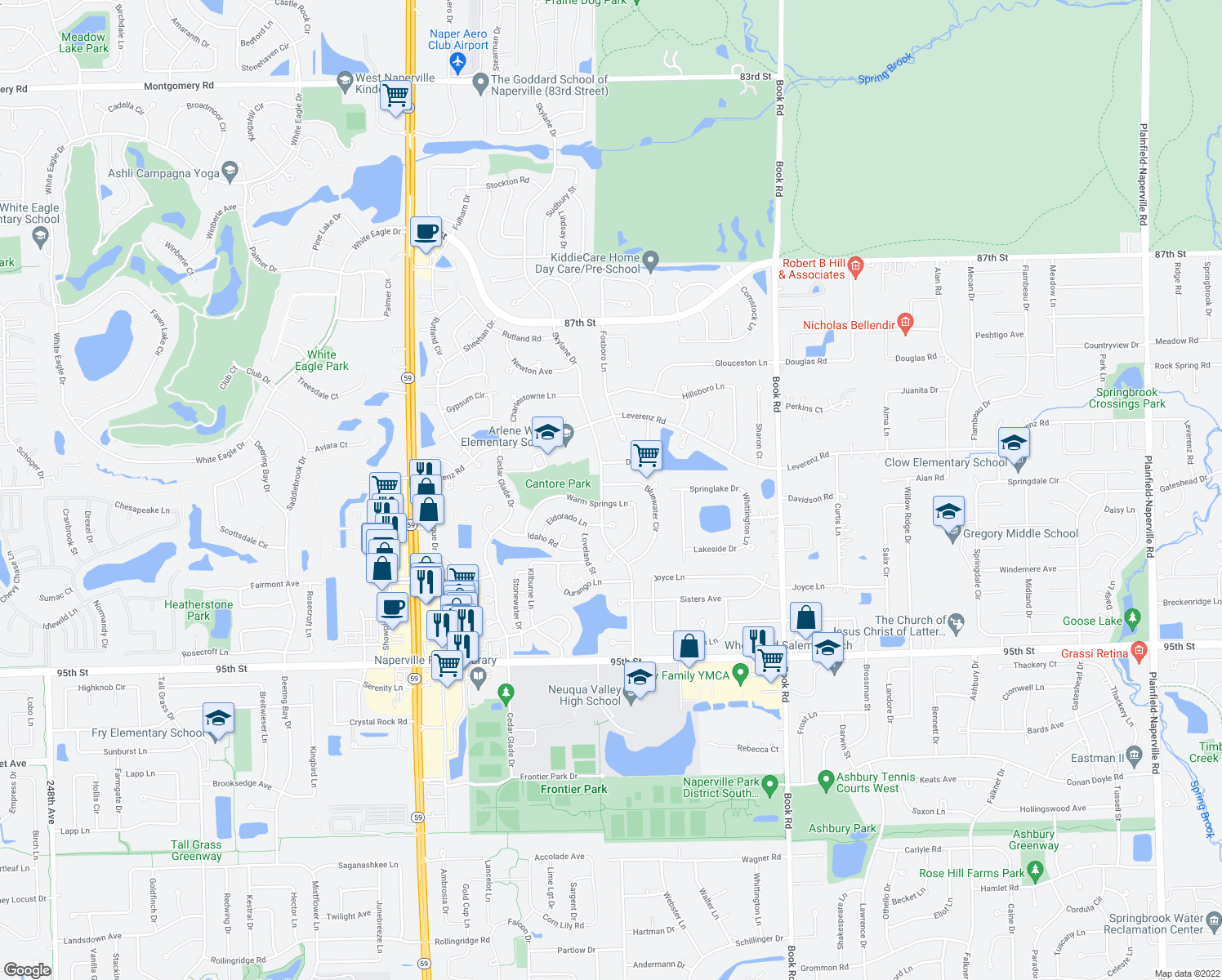 map of restaurants, bars, coffee shops, grocery stores, and more near 2708 Bluewater Circle in Naperville