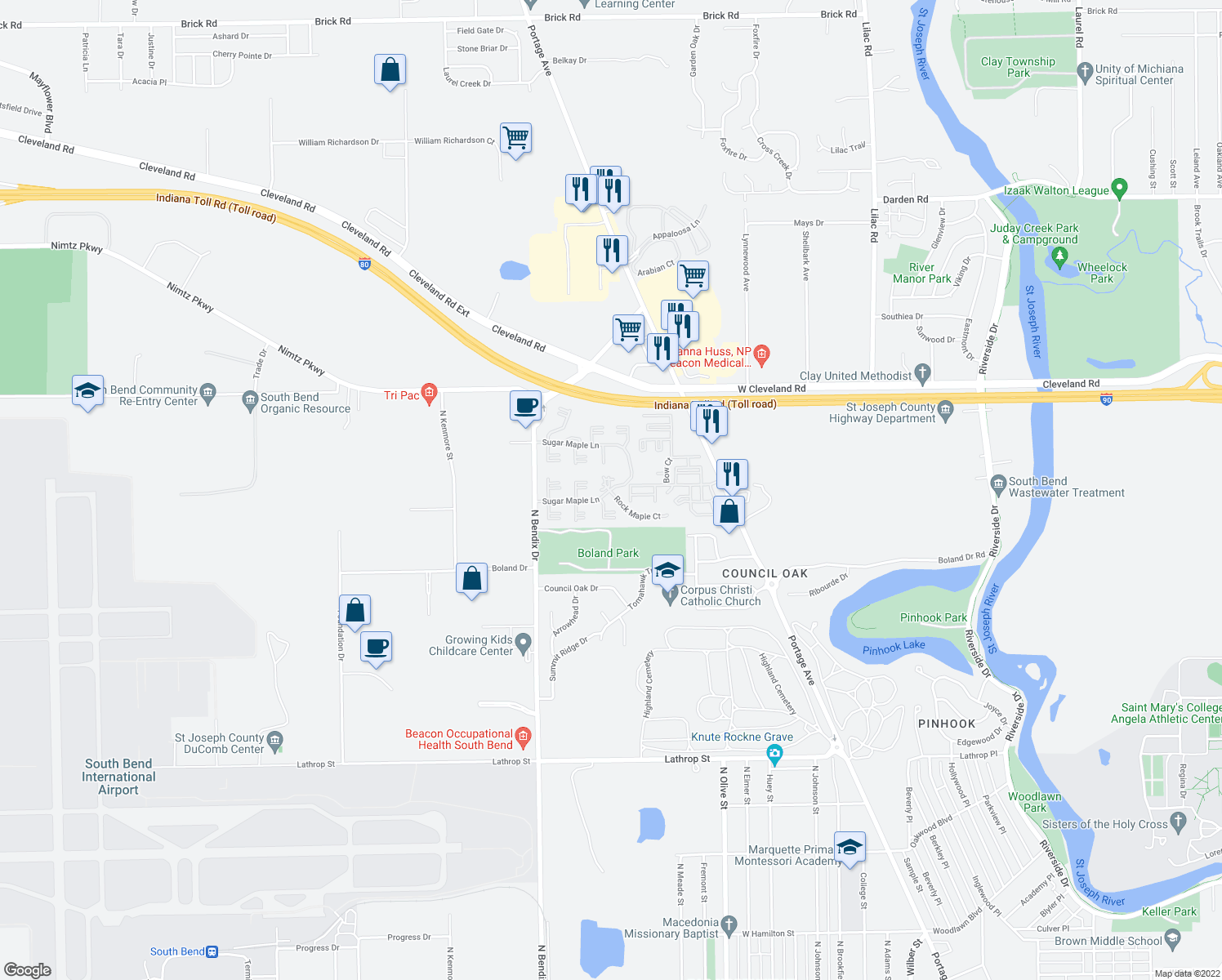 map of restaurants, bars, coffee shops, grocery stores, and more near 3120 Striped Maple Court in South Bend