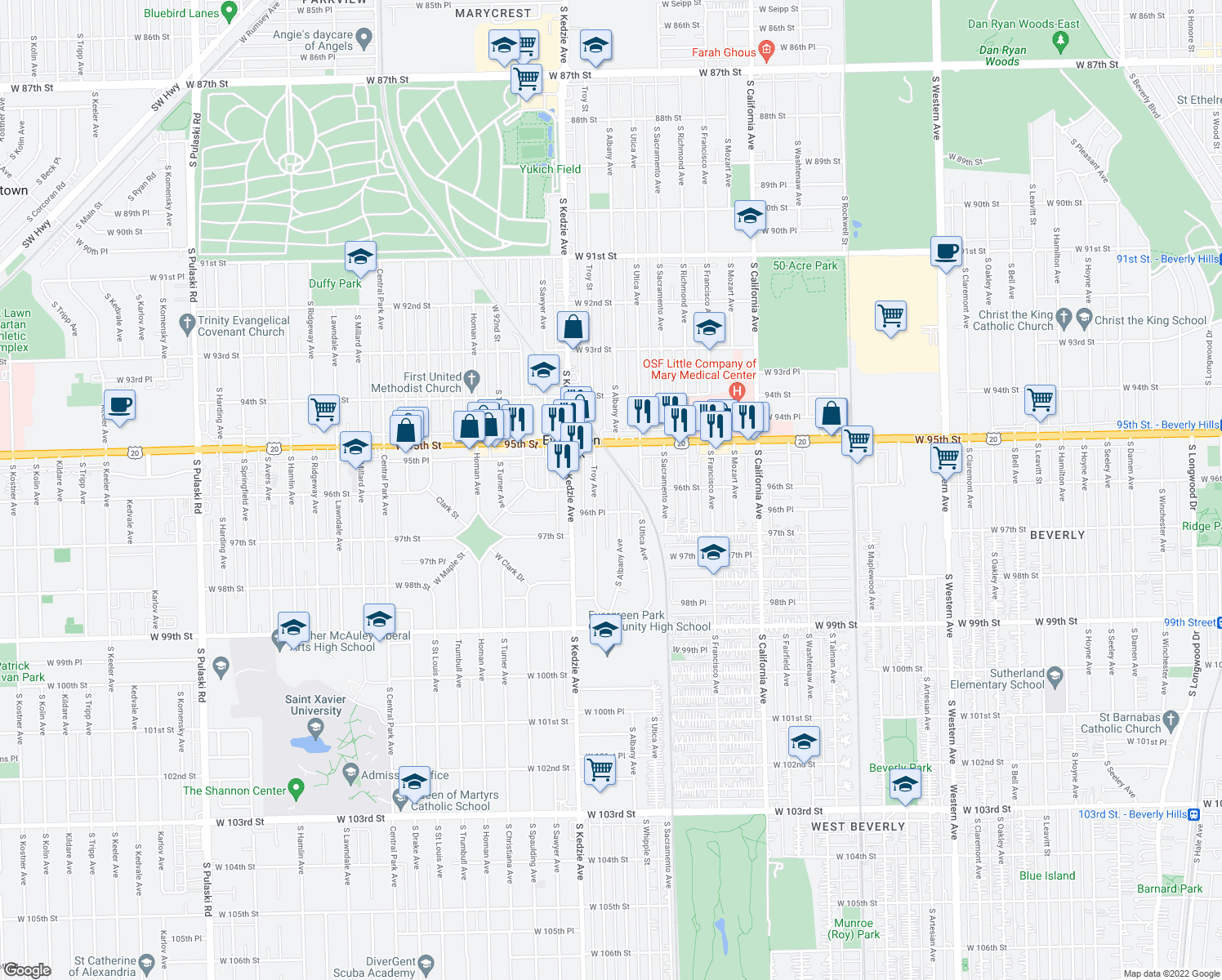map of restaurants, bars, coffee shops, grocery stores, and more near 9501 S Albany Ave in Evergreen Park