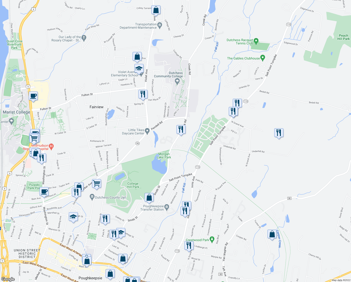 map of restaurants, bars, coffee shops, grocery stores, and more near 68 Creek Road in Poughkeepsie