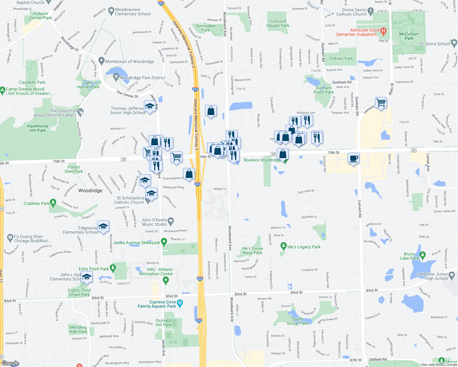 map of restaurants, bars, coffee shops, grocery stores, and more near 7613 Bristol Court in Woodridge