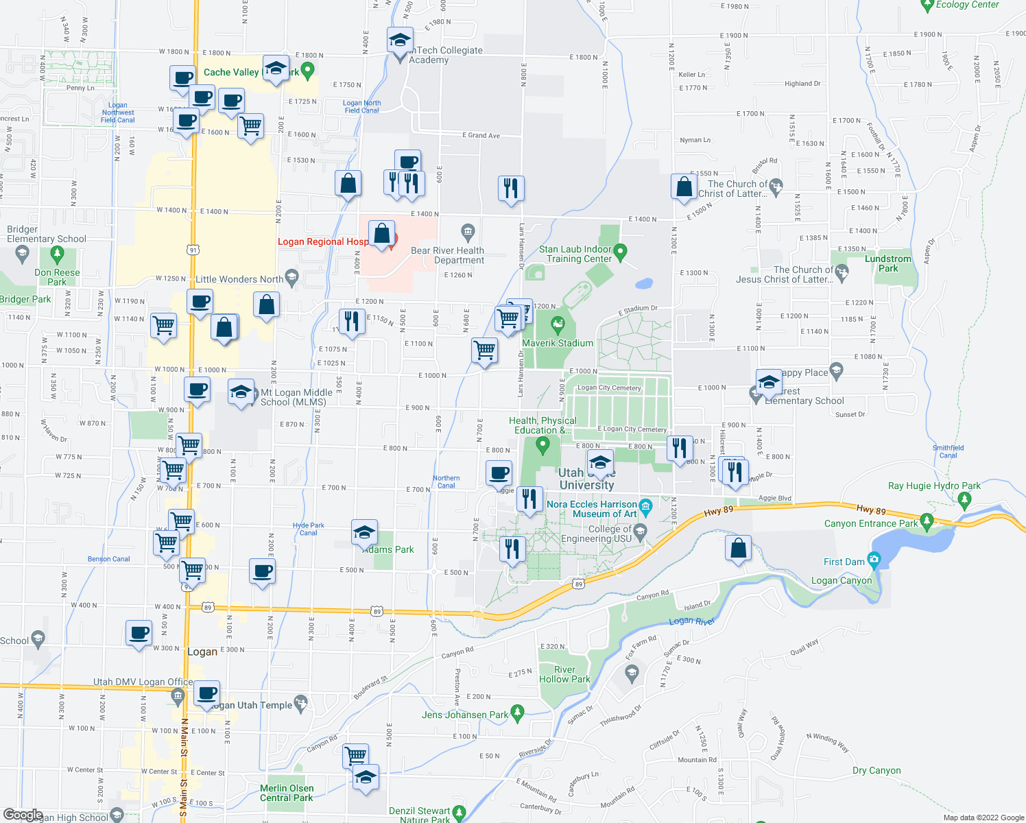 map of restaurants, bars, coffee shops, grocery stores, and more near 700-798 East 900 North in Logan