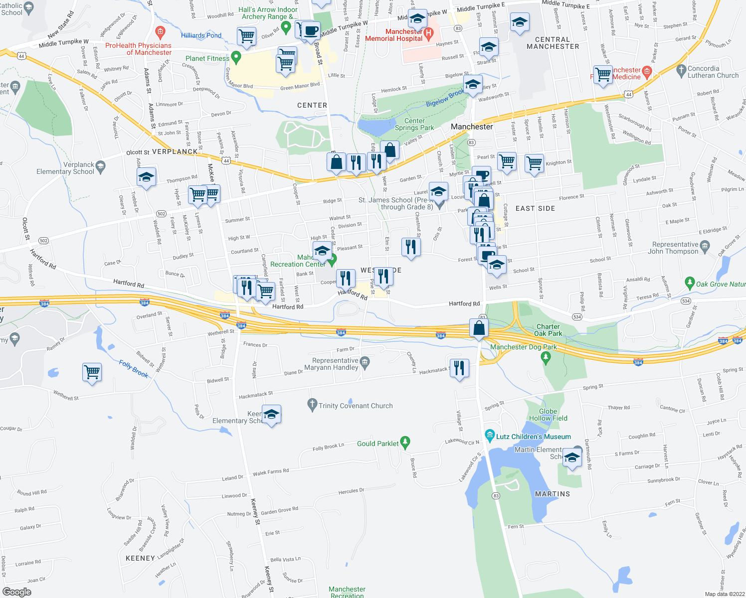 map of restaurants, bars, coffee shops, grocery stores, and more near Hartford Rd & Pine St in Manchester