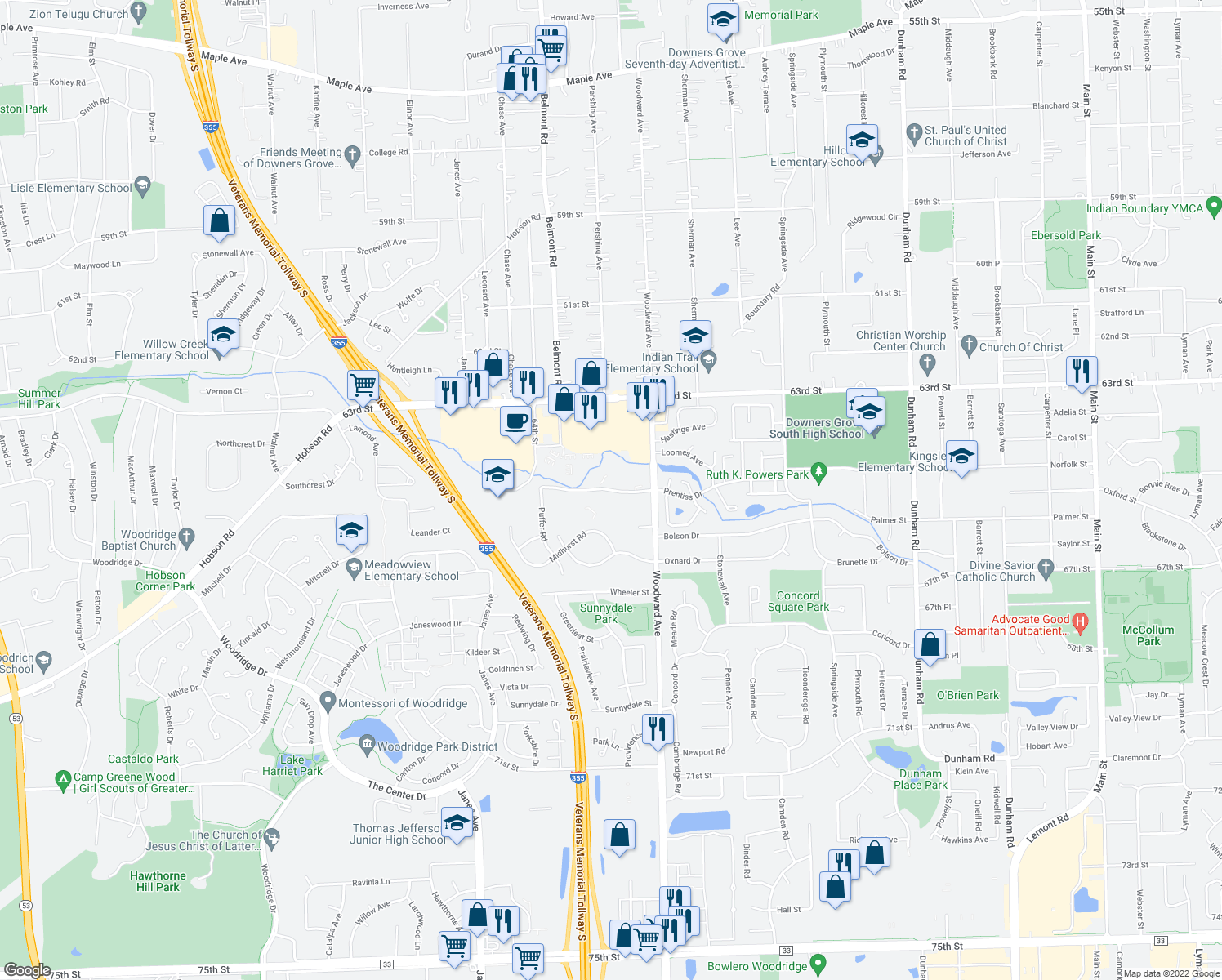 map of restaurants, bars, coffee shops, grocery stores, and more near 2110 Prentiss Drive in Downers Grove