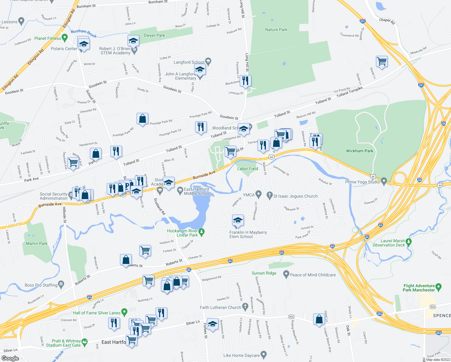 map of restaurants, bars, coffee shops, grocery stores, and more near 929 Burnside Avenue in East Hartford