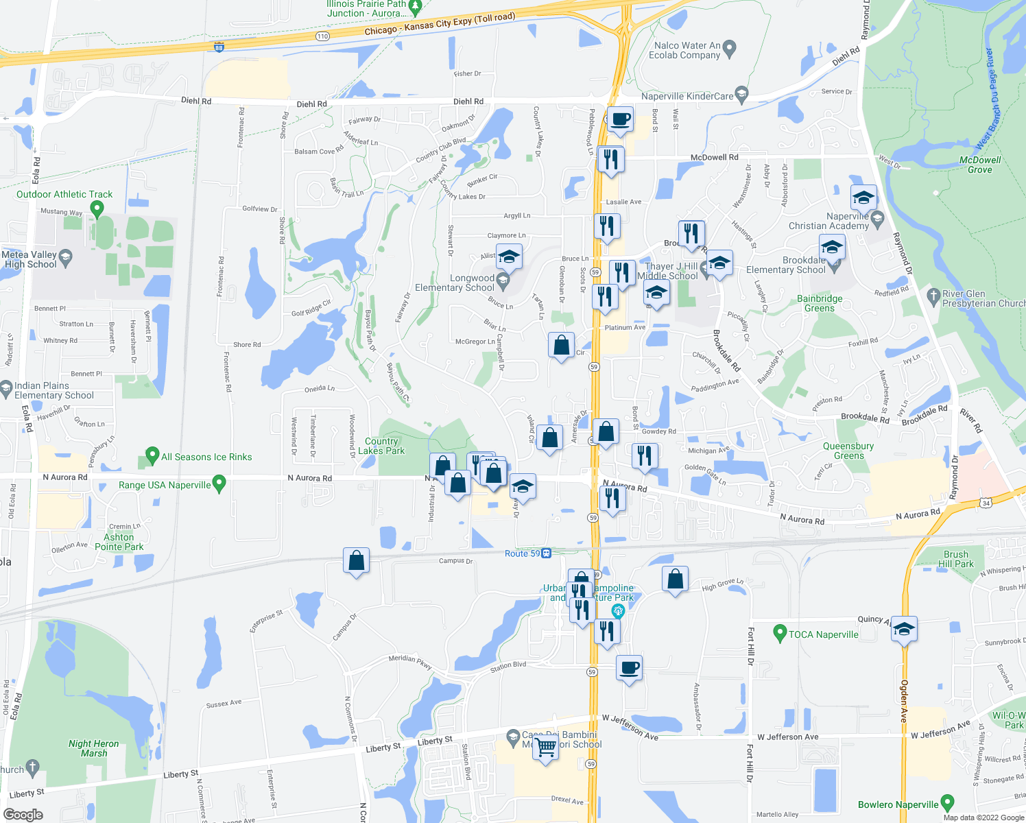 map of restaurants, bars, coffee shops, grocery stores, and more near 779 Fairway Drive in Naperville