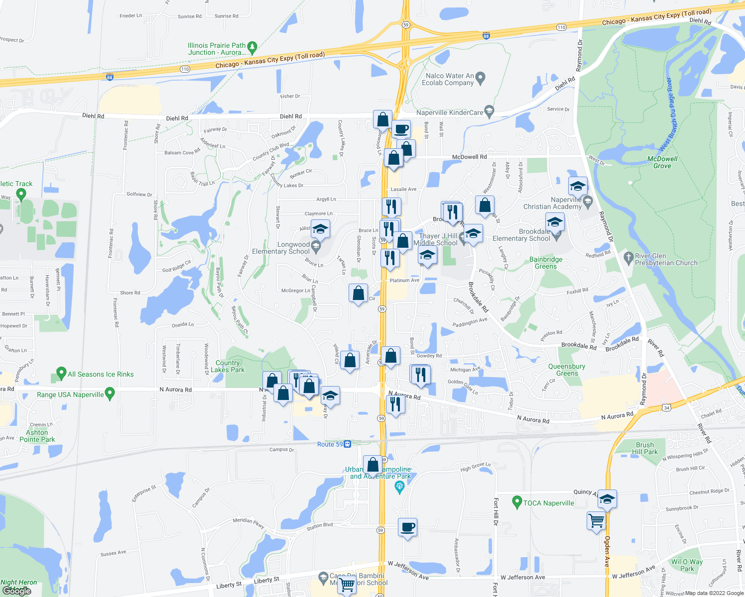 map of restaurants, bars, coffee shops, grocery stores, and more near Vista Cir in Naperville