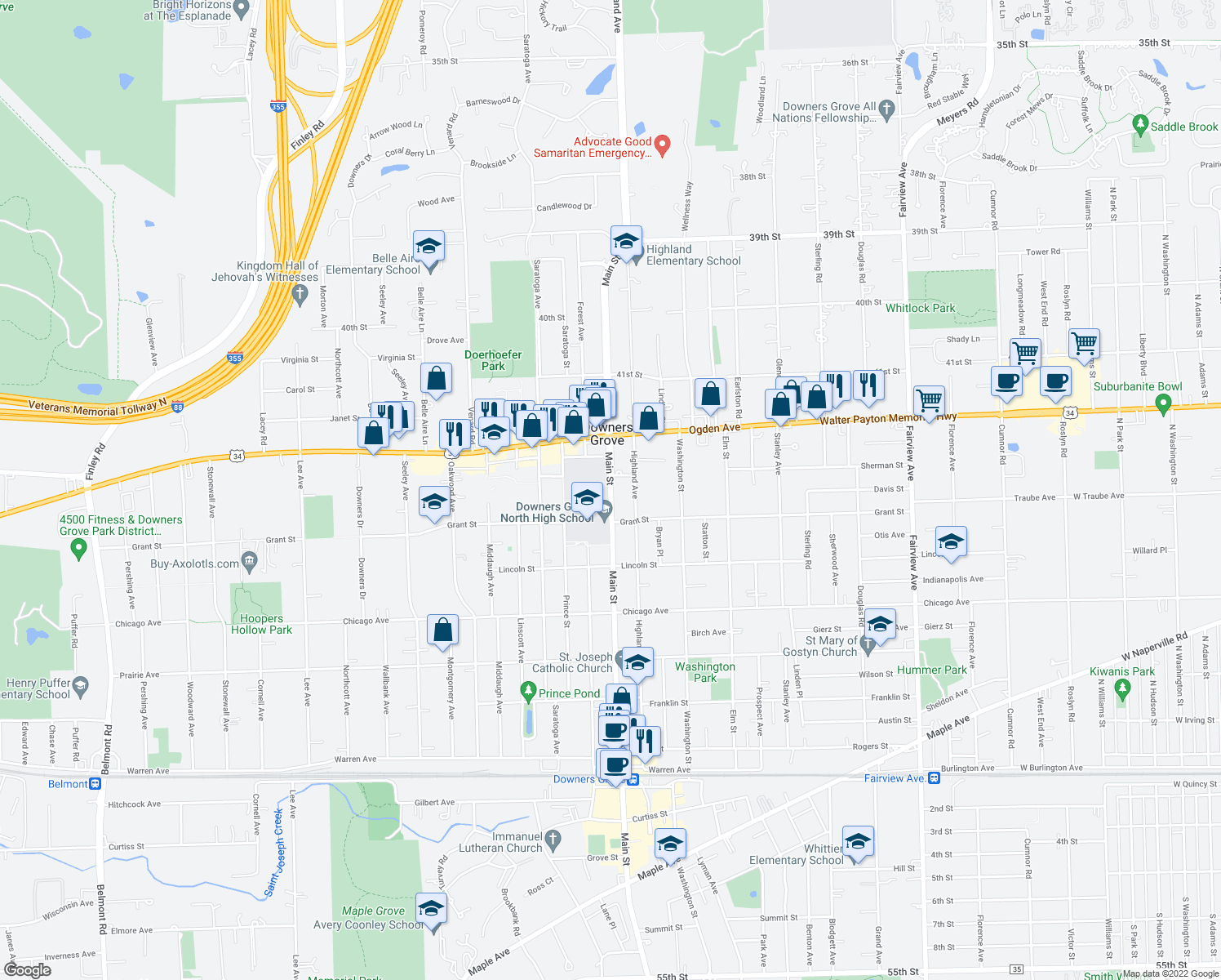 map of restaurants, bars, coffee shops, grocery stores, and more near 4534-4536 Main Street in Downers Grove