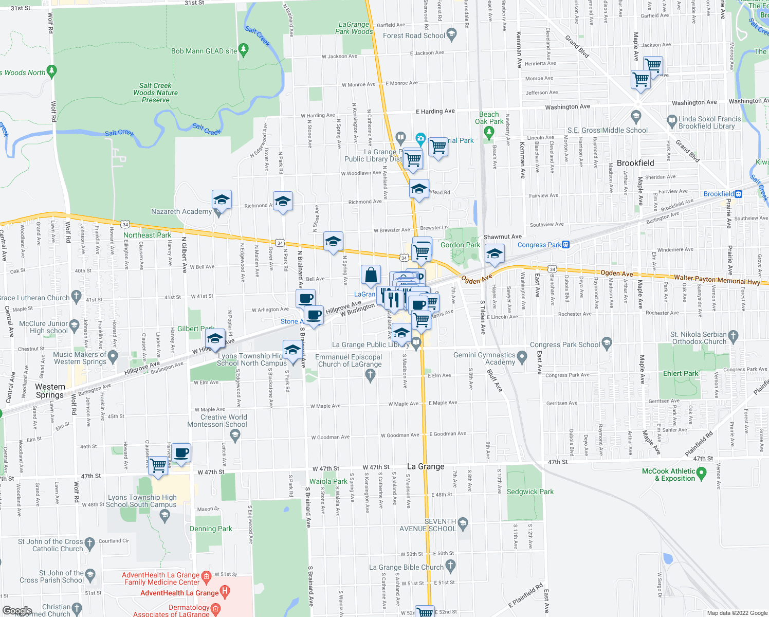 map of restaurants, bars, coffee shops, grocery stores, and more near 14 South Ashland Avenue in La Grange