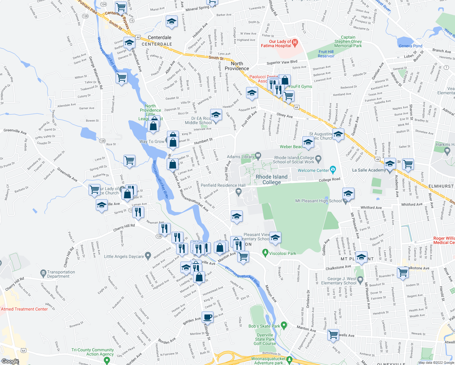map of restaurants, bars, coffee shops, grocery stores, and more near 256 Fruit Hill Avenue in North Providence
