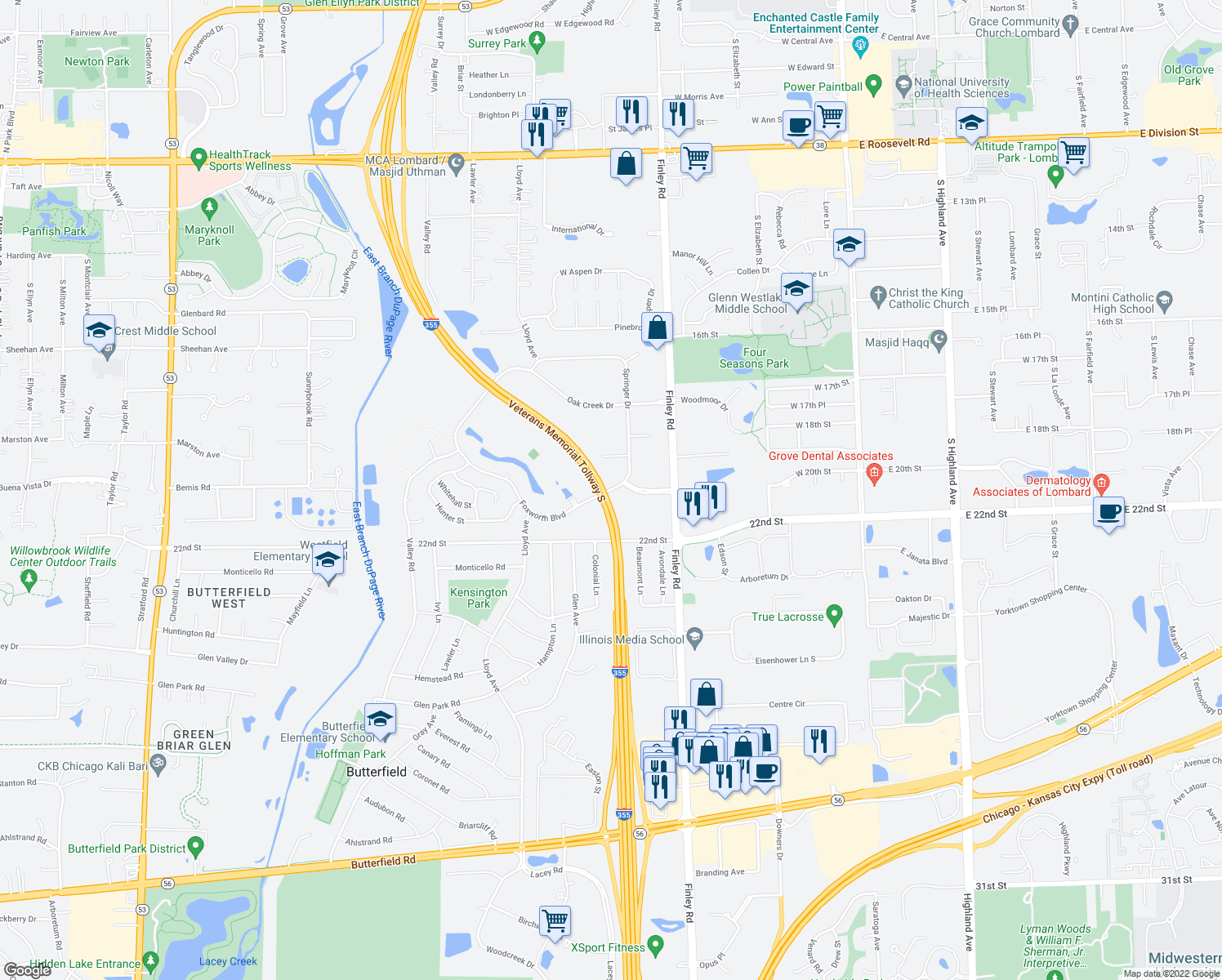 map of restaurants, bars, coffee shops, grocery stores, and more near 2000-2098 Springer Drive in Lombard
