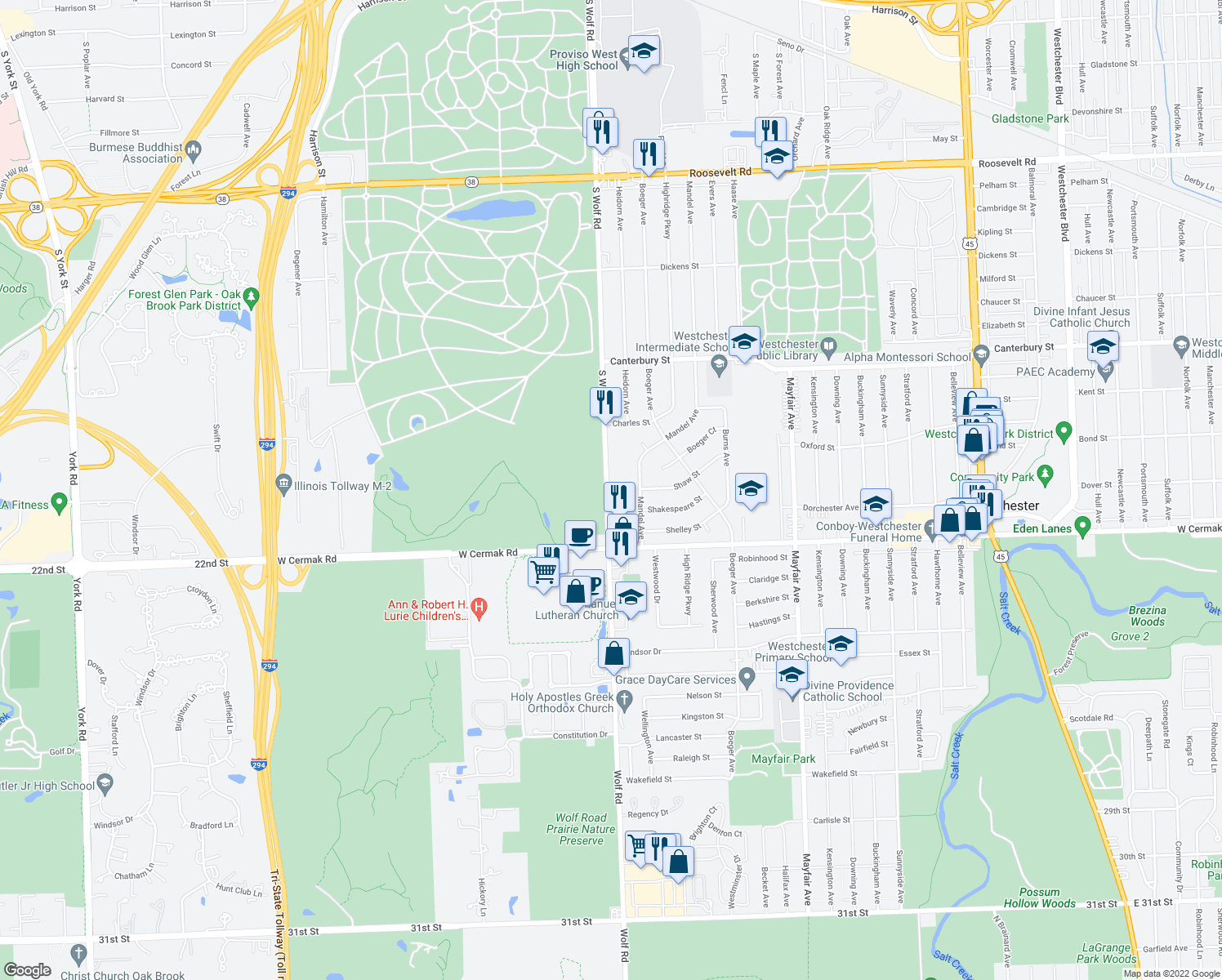 map of restaurants, bars, coffee shops, grocery stores, and more near 1730-2160 S Wolf Rd in Hillside