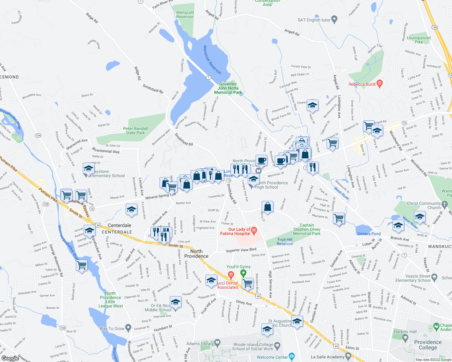 map of restaurants, bars, coffee shops, grocery stores, and more near Mineral Spring Ave & Smithfield Rd in North Providence