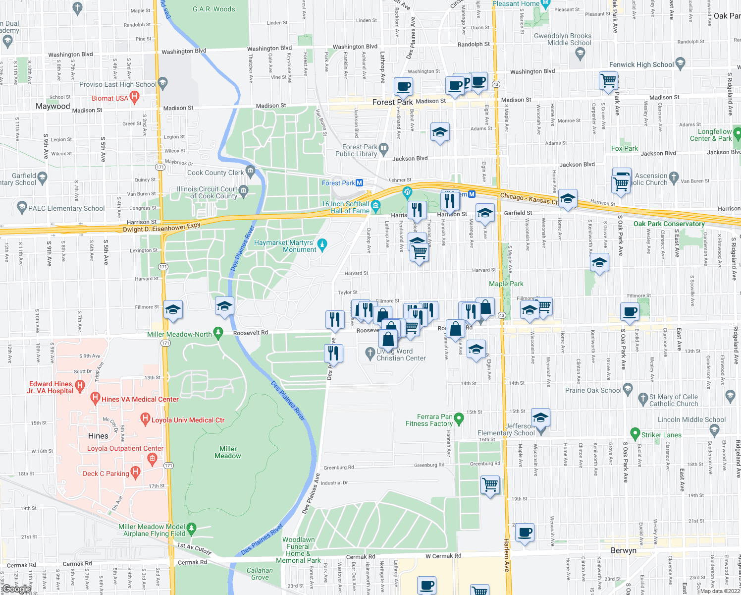 map of restaurants, bars, coffee shops, grocery stores, and more near Dunlop Avenue in Forest Park