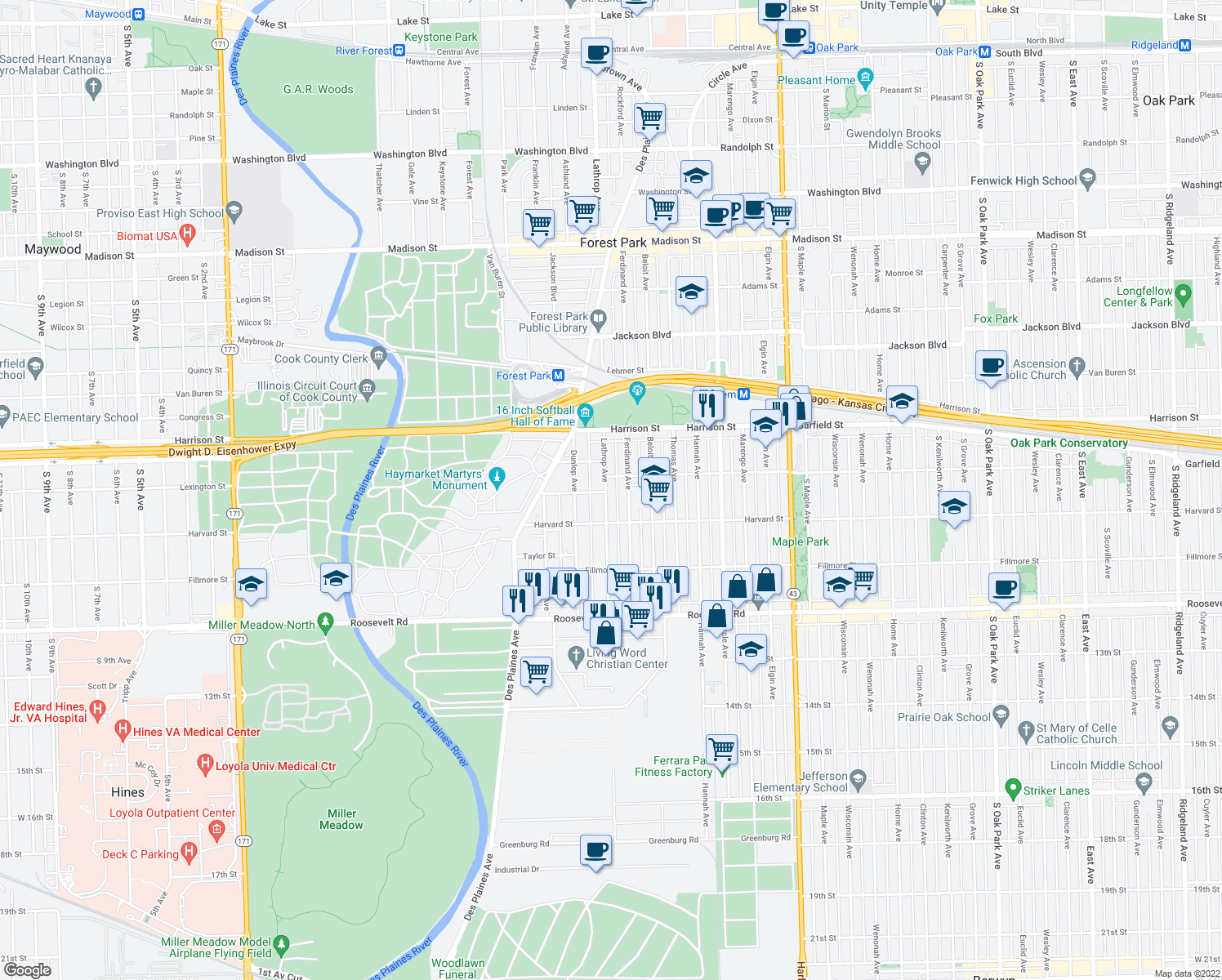 map of restaurants, bars, coffee shops, grocery stores, and more near 914 Lathrop Avenue in Forest Park