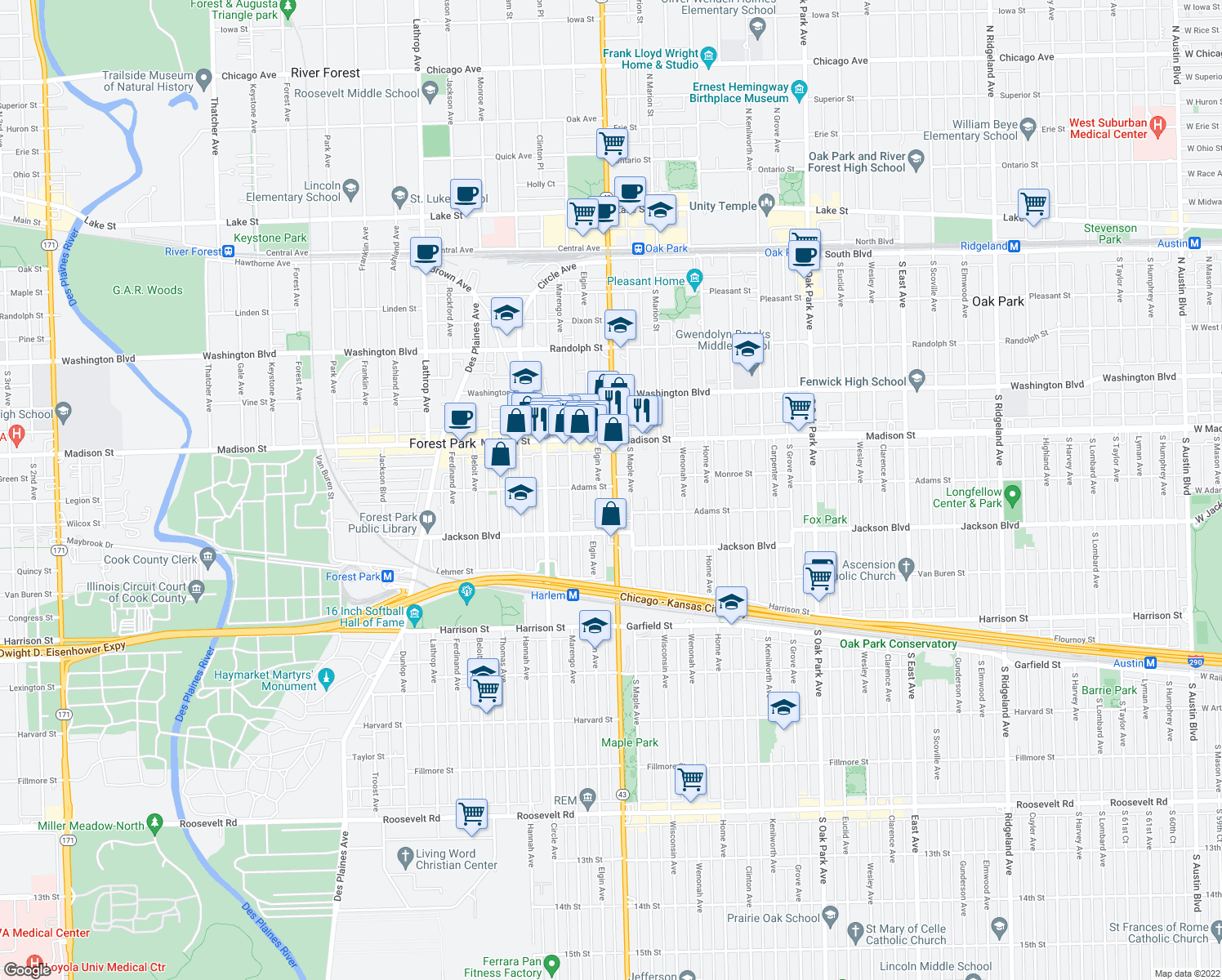 map of restaurants, bars, coffee shops, grocery stores, and more near in Forest Park