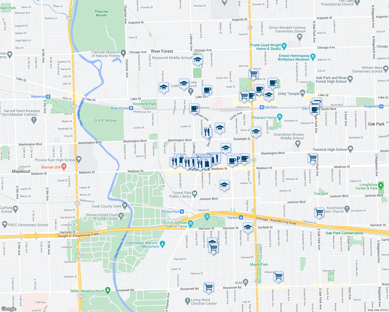 map of restaurants, bars, coffee shops, grocery stores, and more near 508 Lathrop Avenue in River Forest