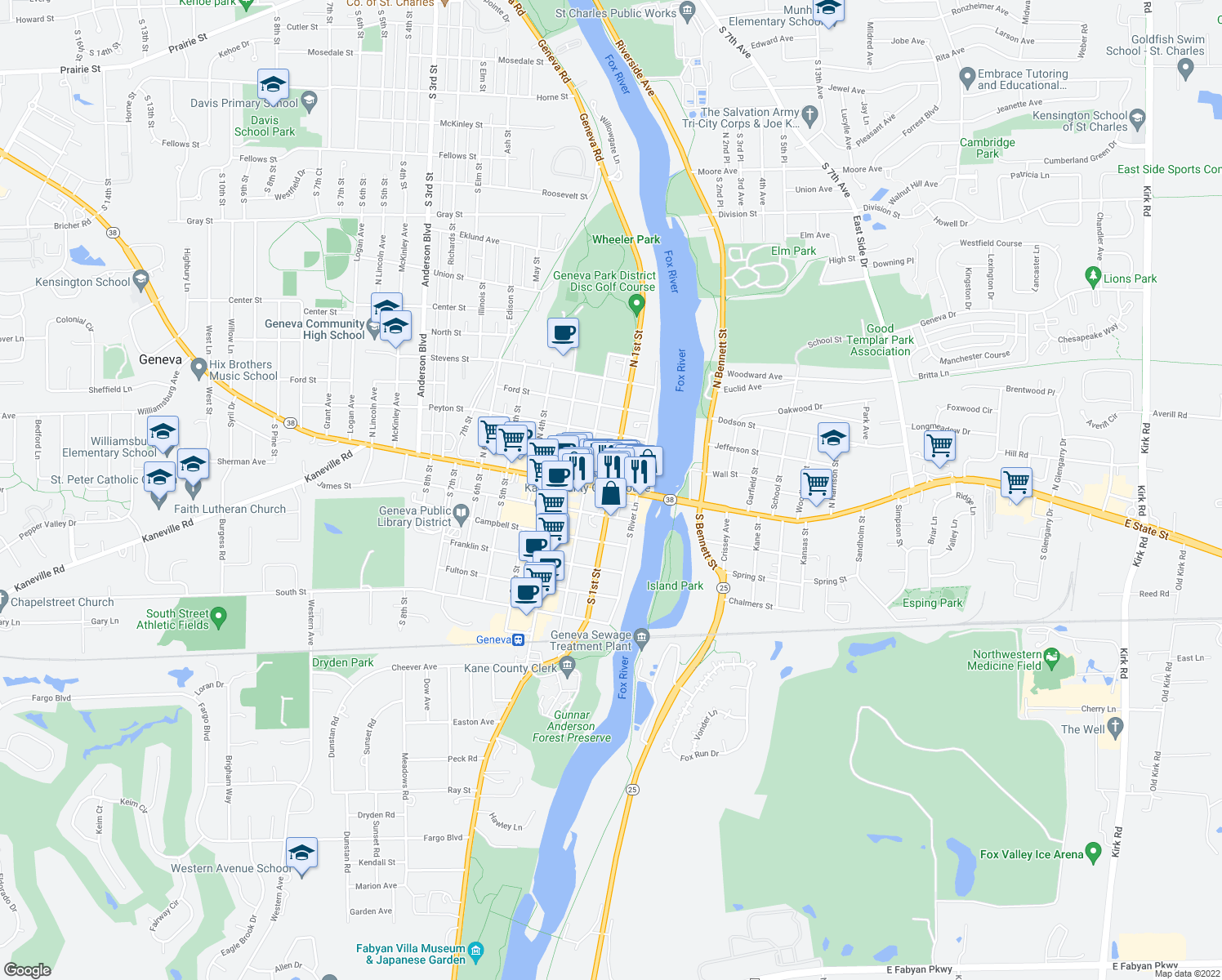 map of restaurants, bars, coffee shops, grocery stores, and more near in Geneva