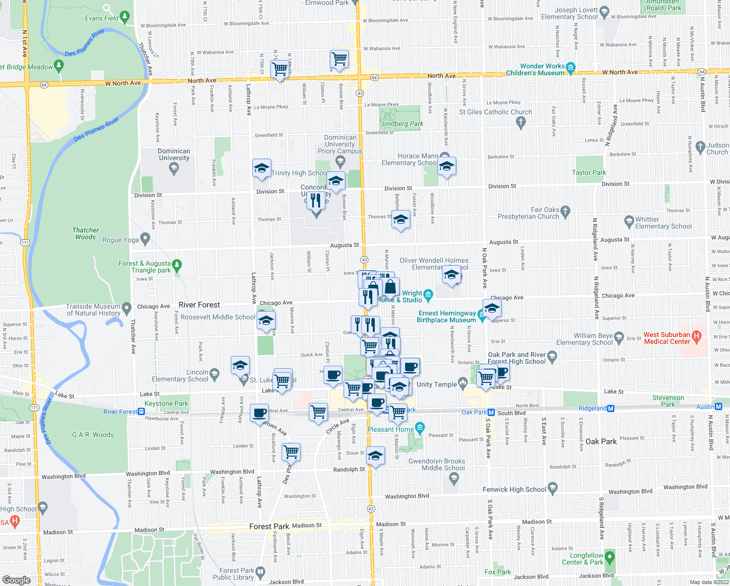 map of restaurants, bars, coffee shops, grocery stores, and more near North Harlem Avenue in Oak Park