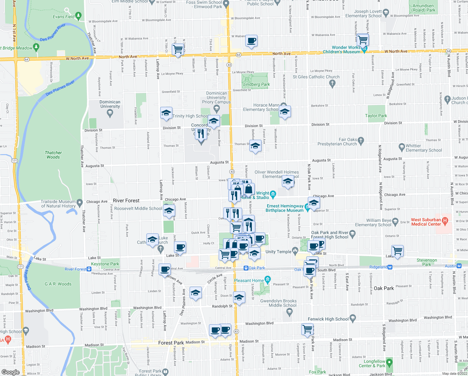 map of restaurants, bars, coffee shops, grocery stores, and more near 837 North Harlem Avenue in Oak Park