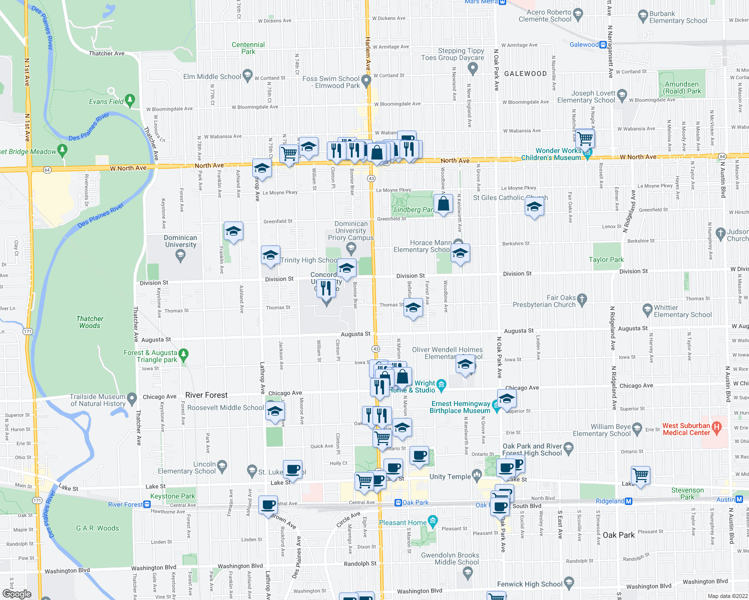 map of restaurants, bars, coffee shops, grocery stores, and more near North Harlem Avenue in River Forest