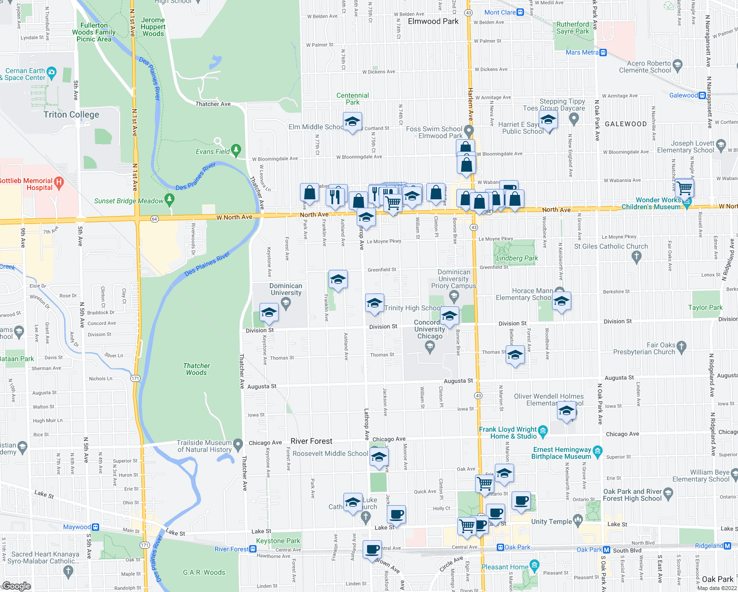 map of restaurants, bars, coffee shops, grocery stores, and more near 1301 Lathrop Avenue in River Forest