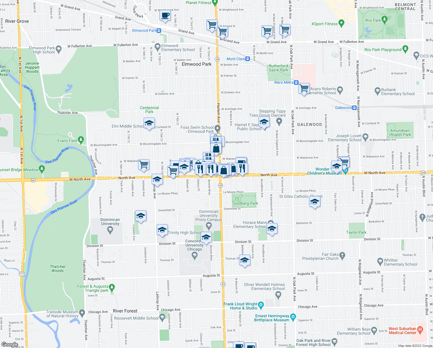 map of restaurants, bars, coffee shops, grocery stores, and more near 7234 West North Avenue in Elmwood Park