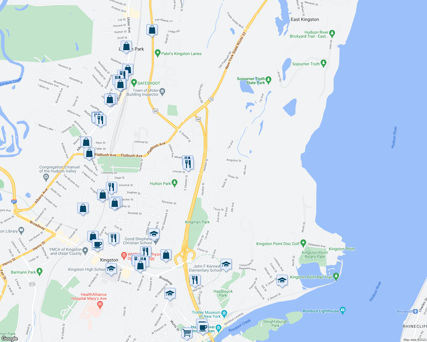 map of restaurants, bars, coffee shops, grocery stores, and more near 311 1st Avenue in Kingston