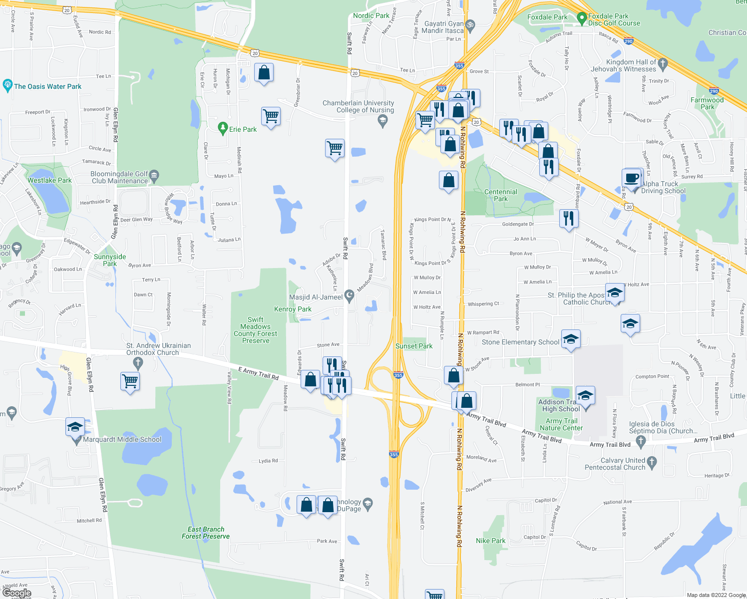 map of restaurants, bars, coffee shops, grocery stores, and more near 601 North Meadows Boulevard in Addison