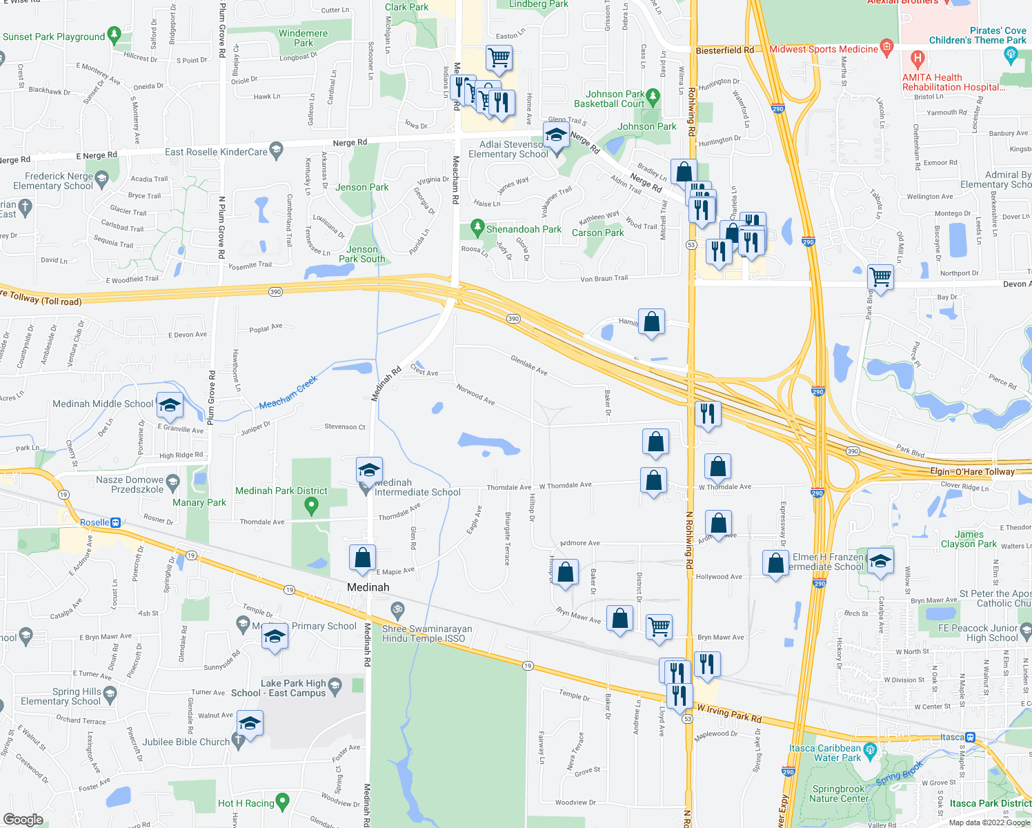 map of restaurants, bars, coffee shops, grocery stores, and more near 1600-1622 Norwood Avenue in Itasca