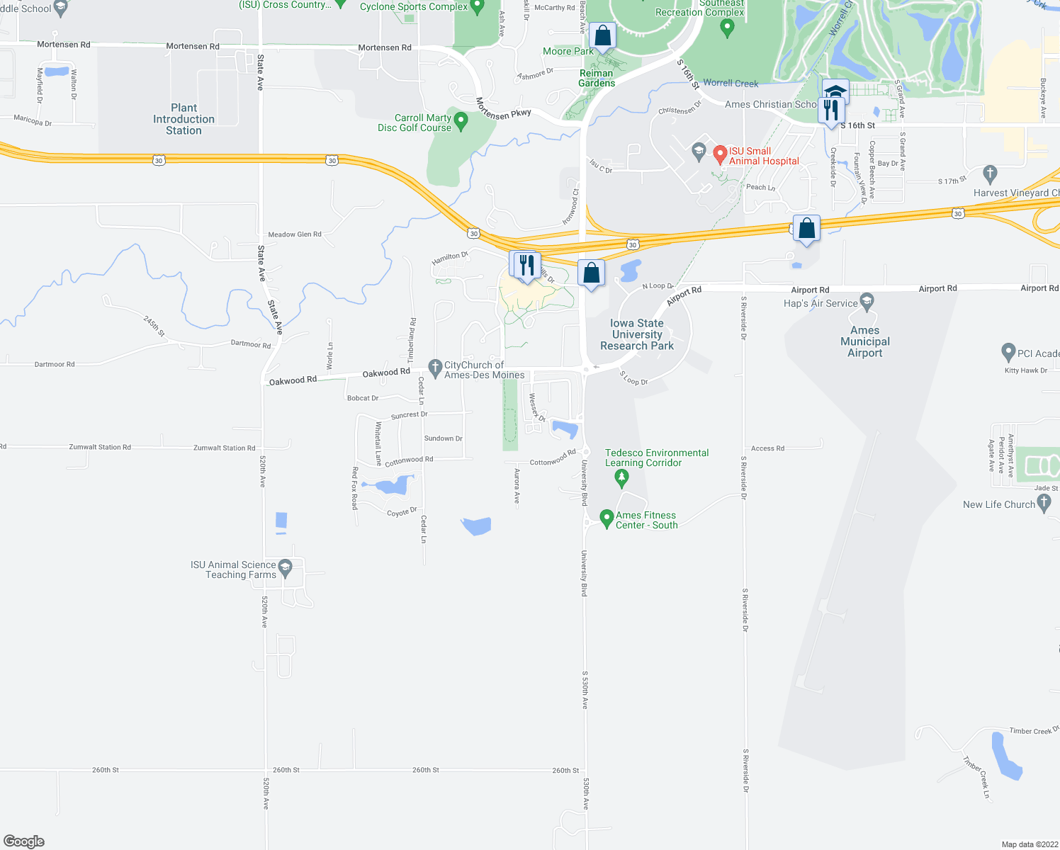 map of restaurants, bars, coffee shops, grocery stores, and more near 3007 Wessex Dr in Ames