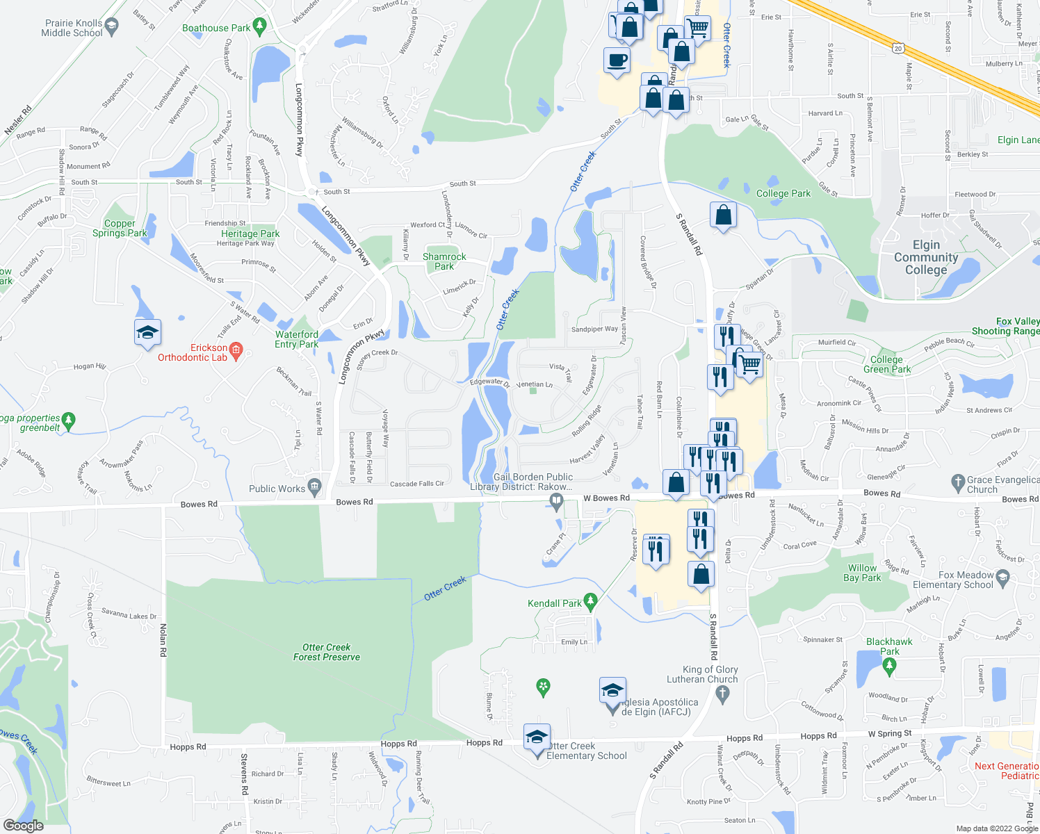 map of restaurants, bars, coffee shops, grocery stores, and more near Edgewater Dr & Del Webb Blvd in Elgin