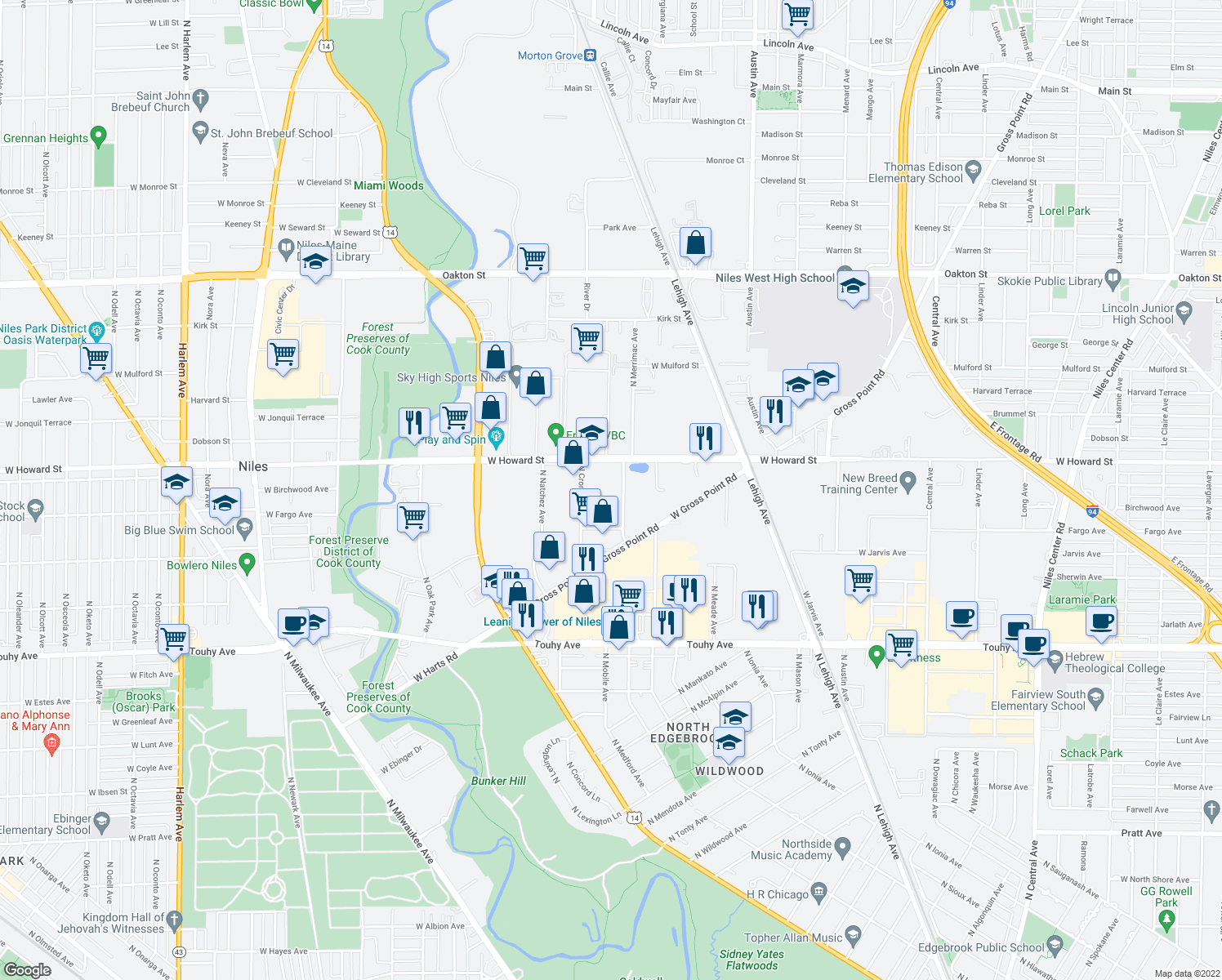 map of restaurants, bars, coffee shops, grocery stores, and more near 6201 W Howard St in Niles