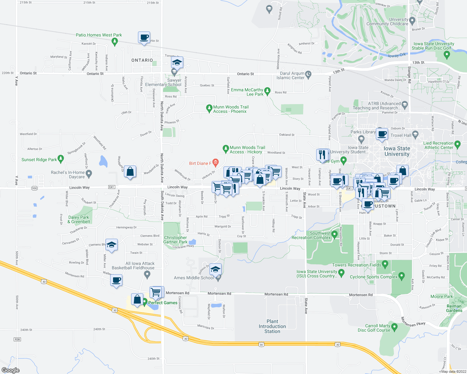 map of restaurants, bars, coffee shops, grocery stores, and more near Lincoln Way & Marshall Ave in Ames